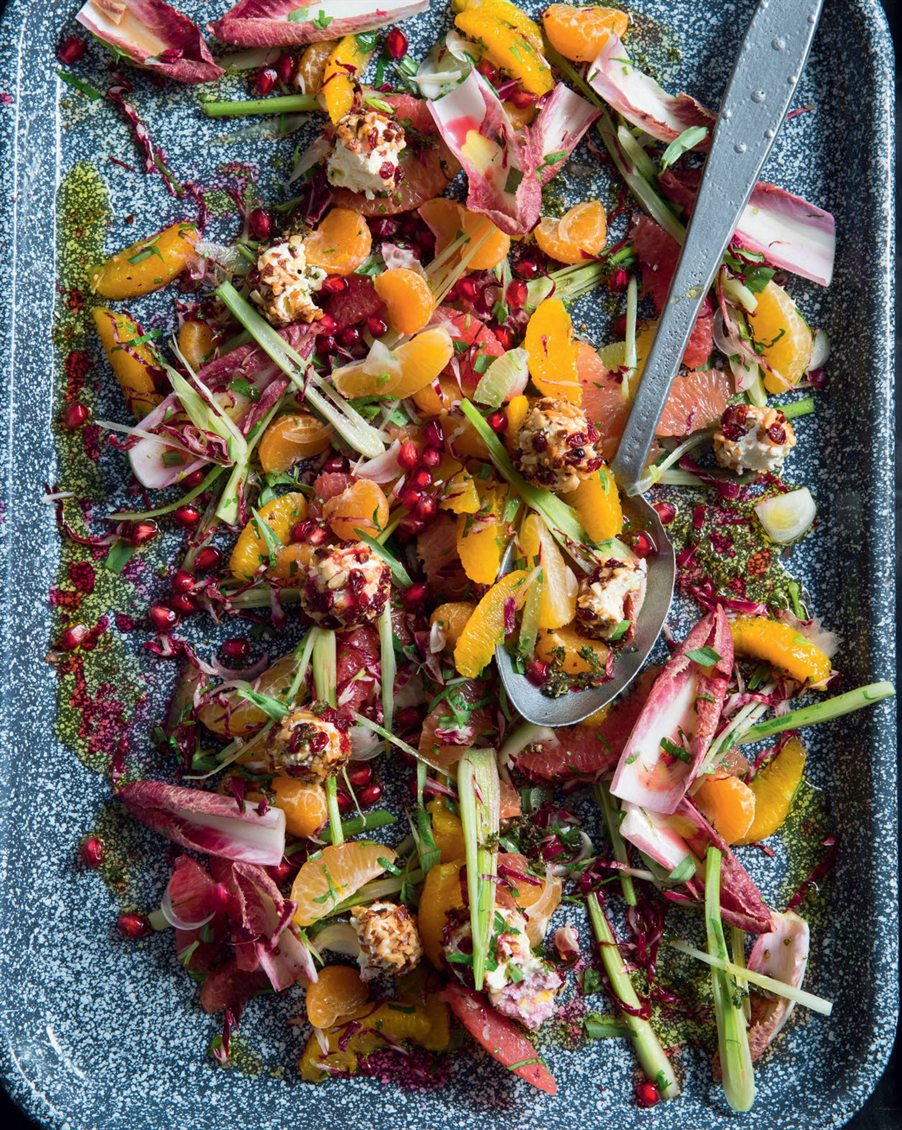 Citrus salad with red radicchio & pomegranate dressing