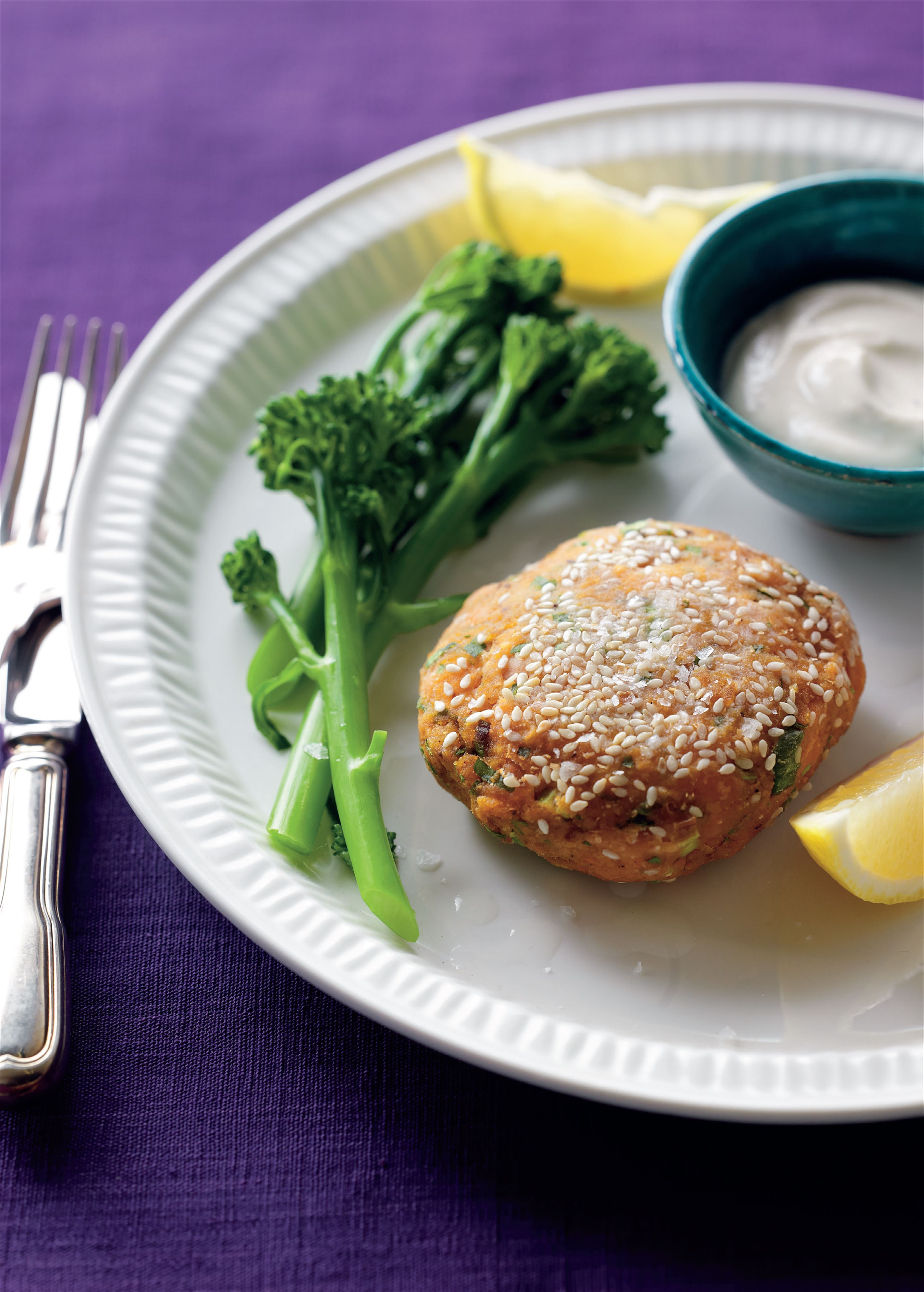 Spiced sweet potato and chickpea patties with yoghurt dressing