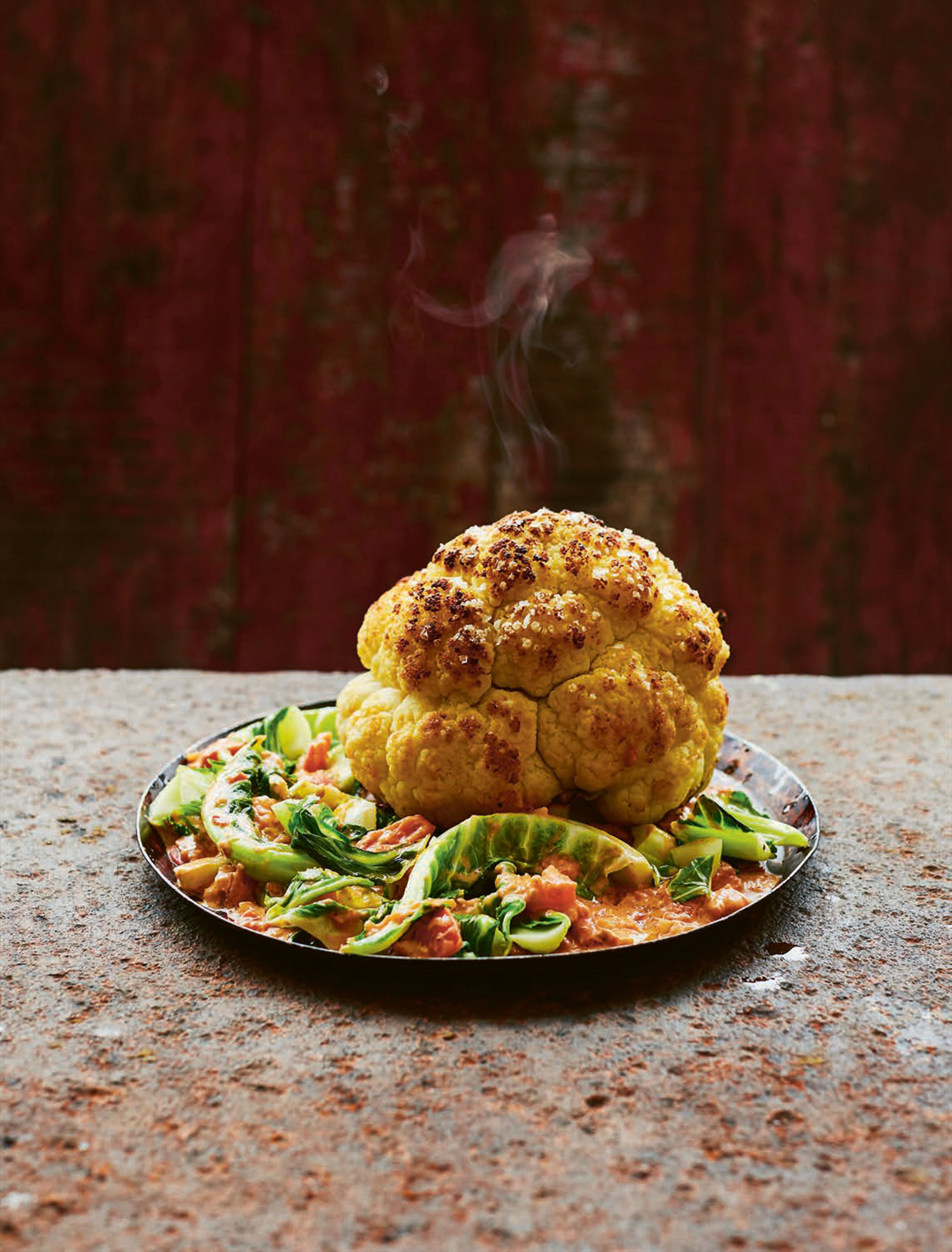 Whole roasted cauliflower with anchovy sauce