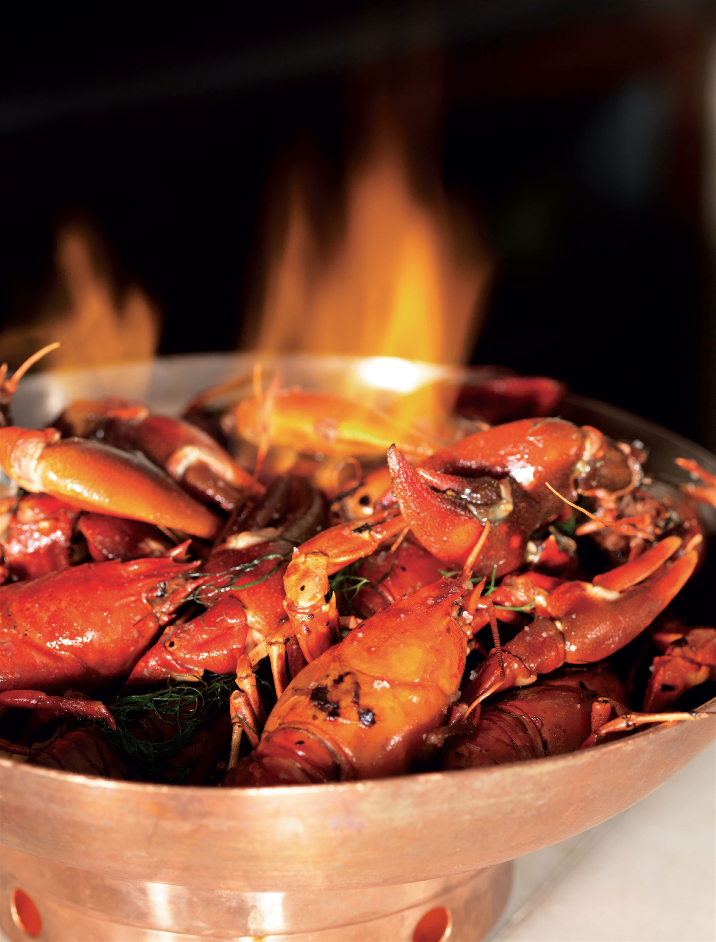 Roasted 'wilderness crayfish' flamed with cider brandy