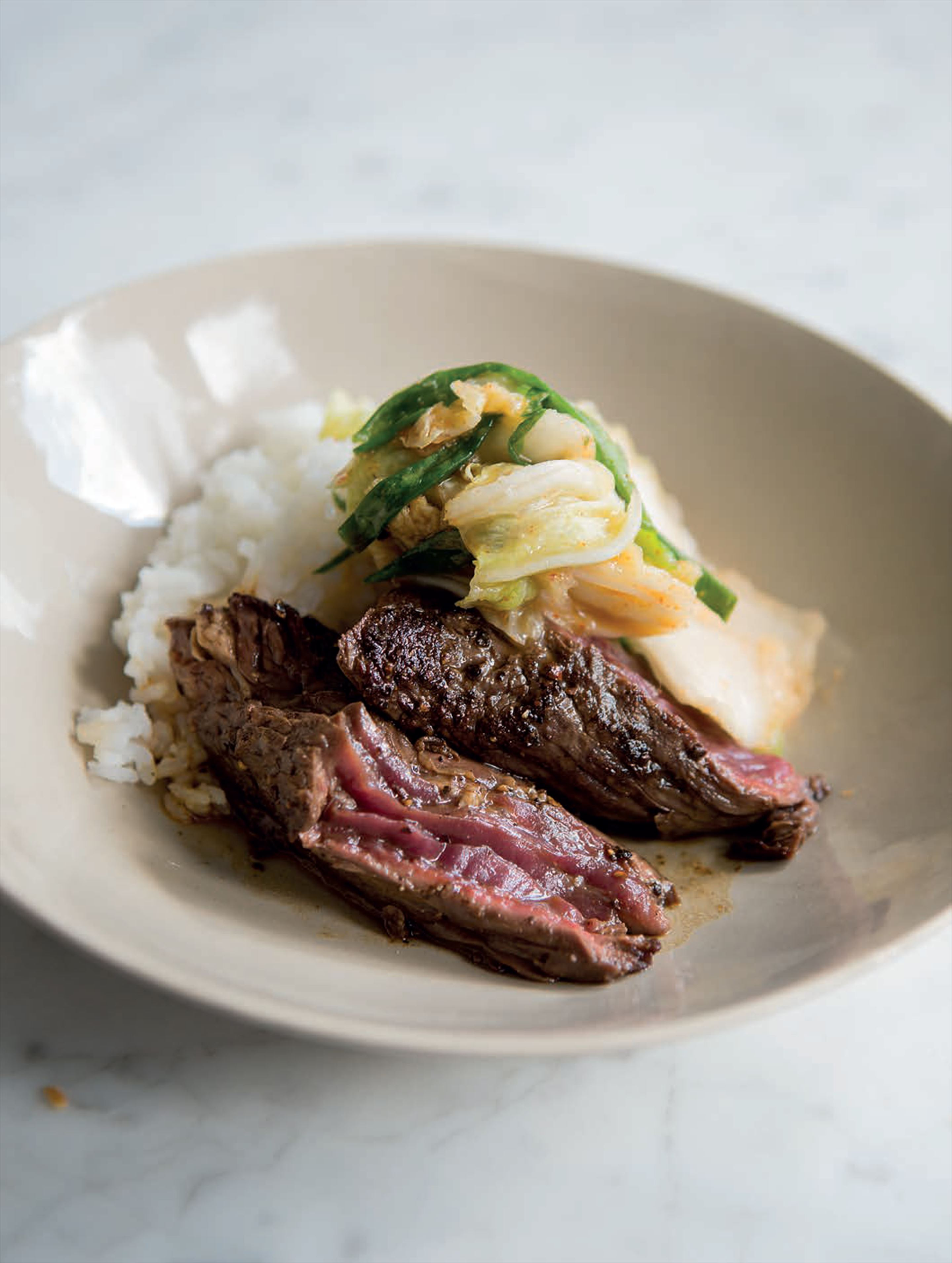 Skirt steak with kimchi
