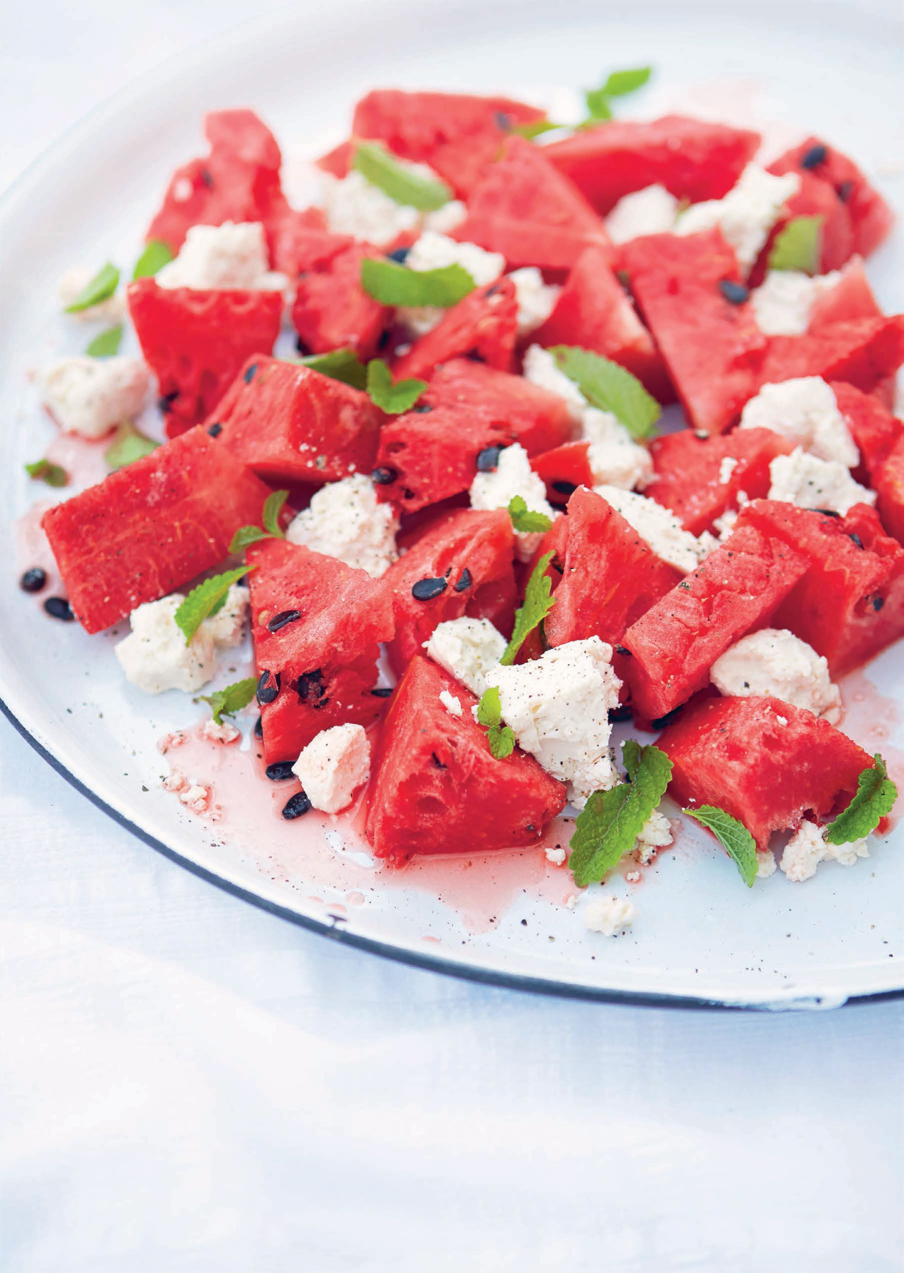 Watermelon with white cheese