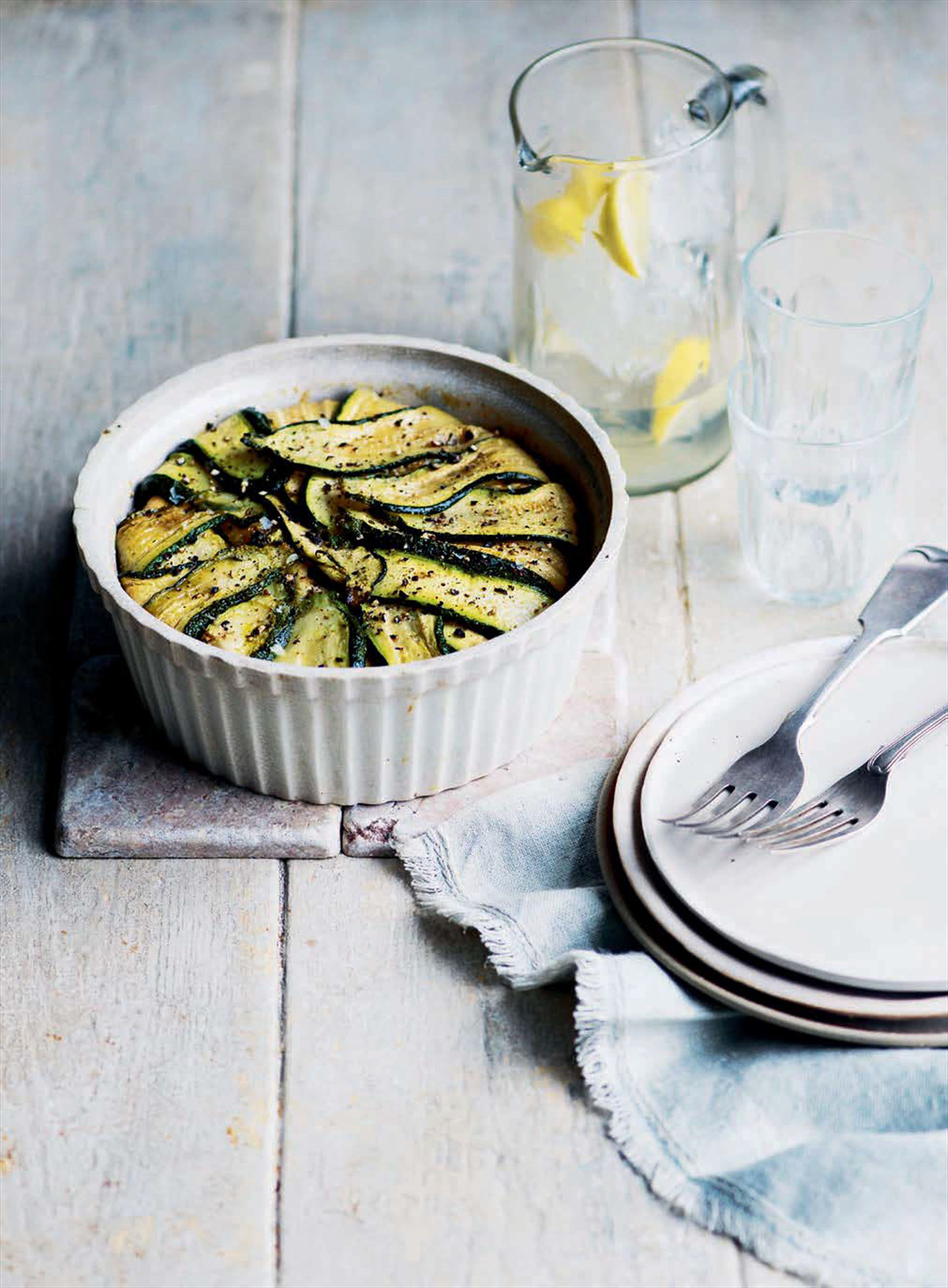 Courgette-topped baked pilaf