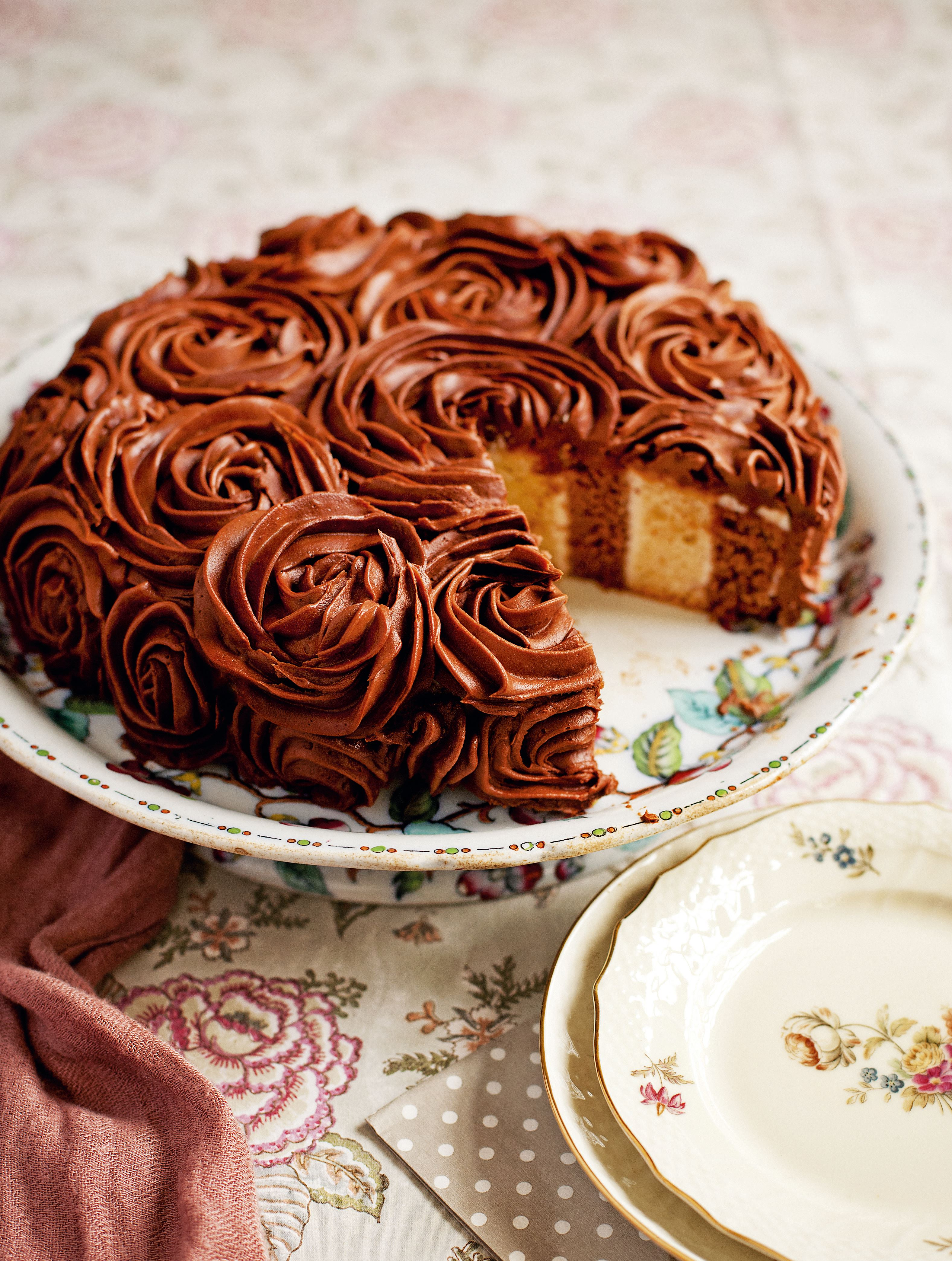 Coconut and chocolate stripy cake