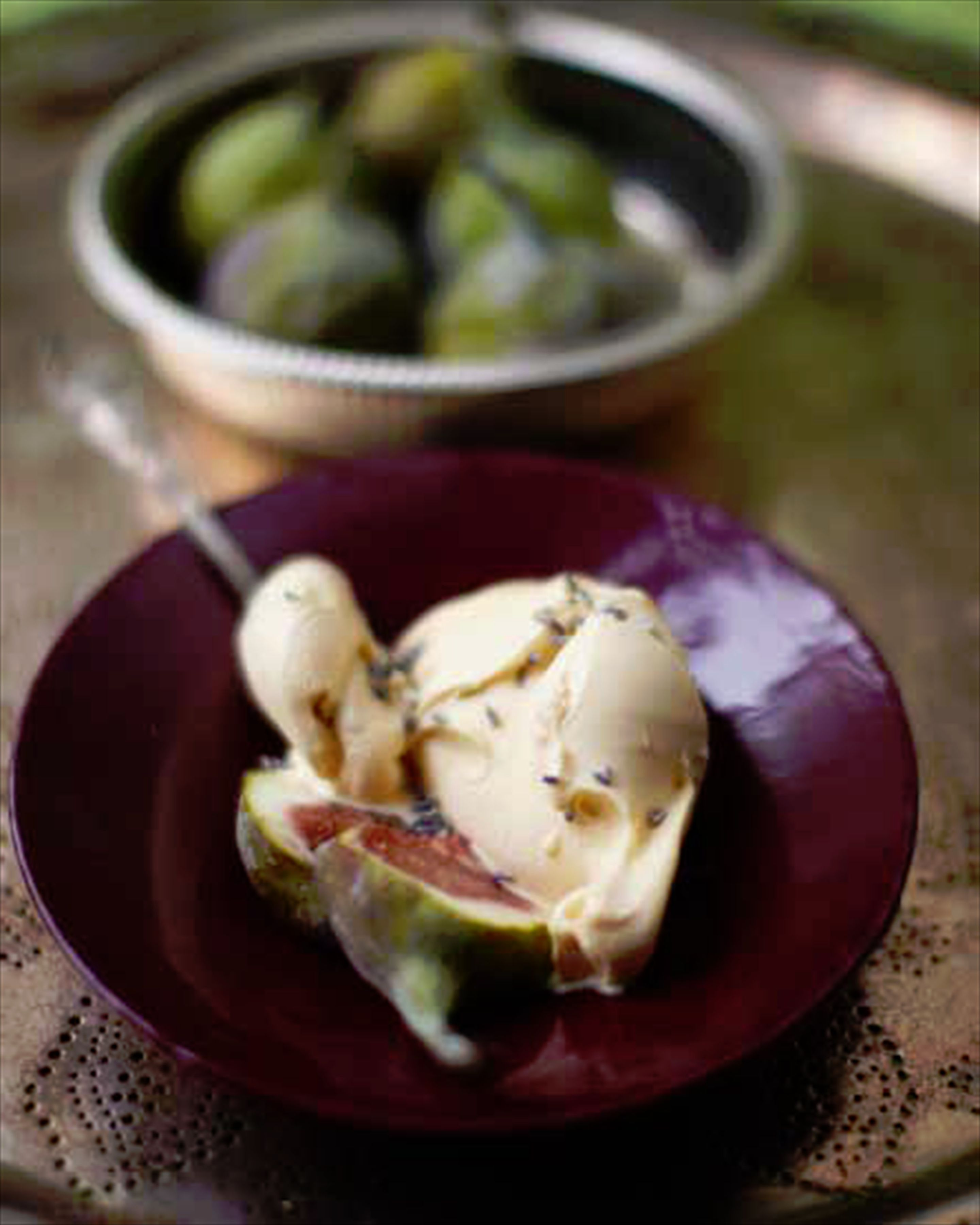 Figs with almond-milk ice cream