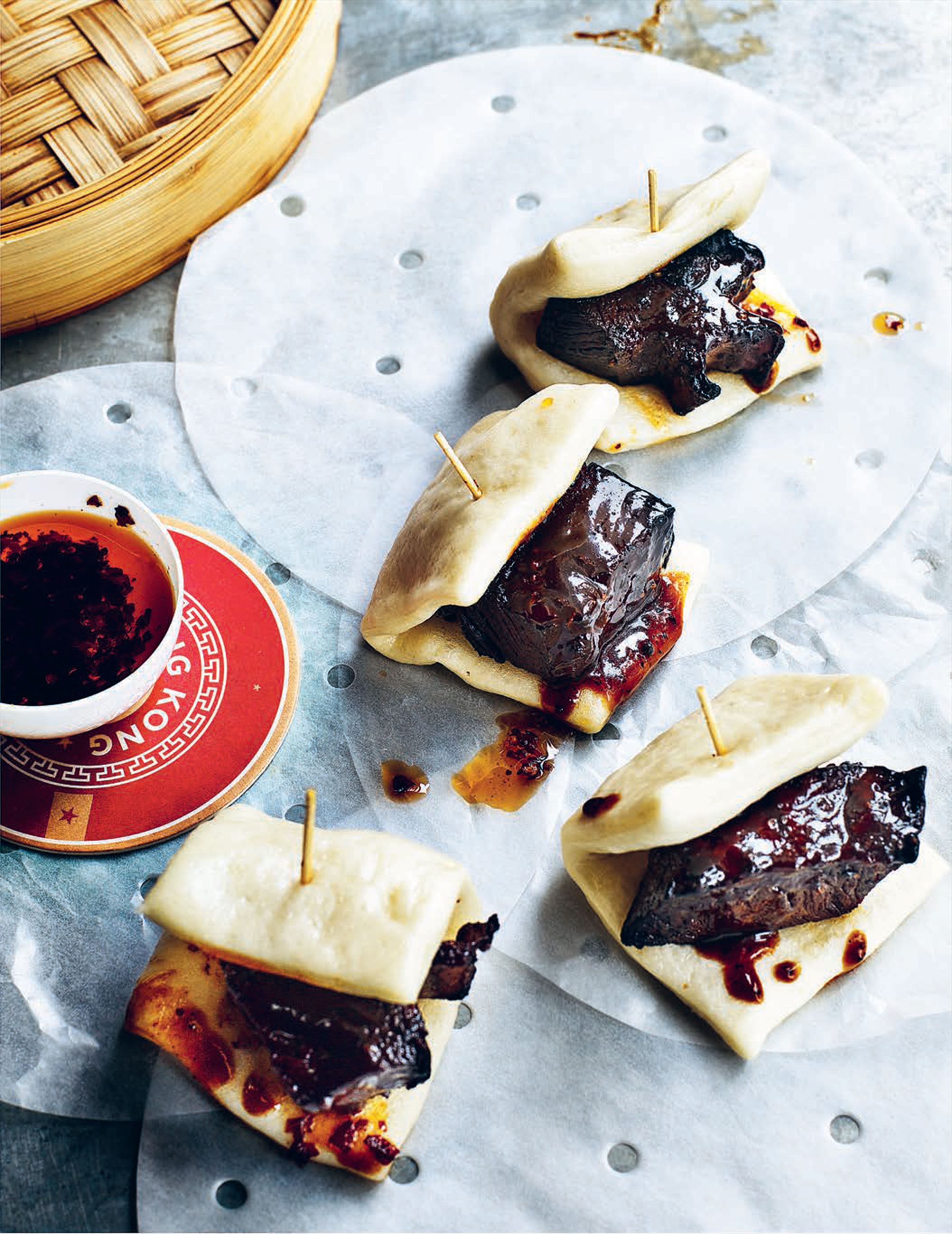 Black pepper glazed short rib bao