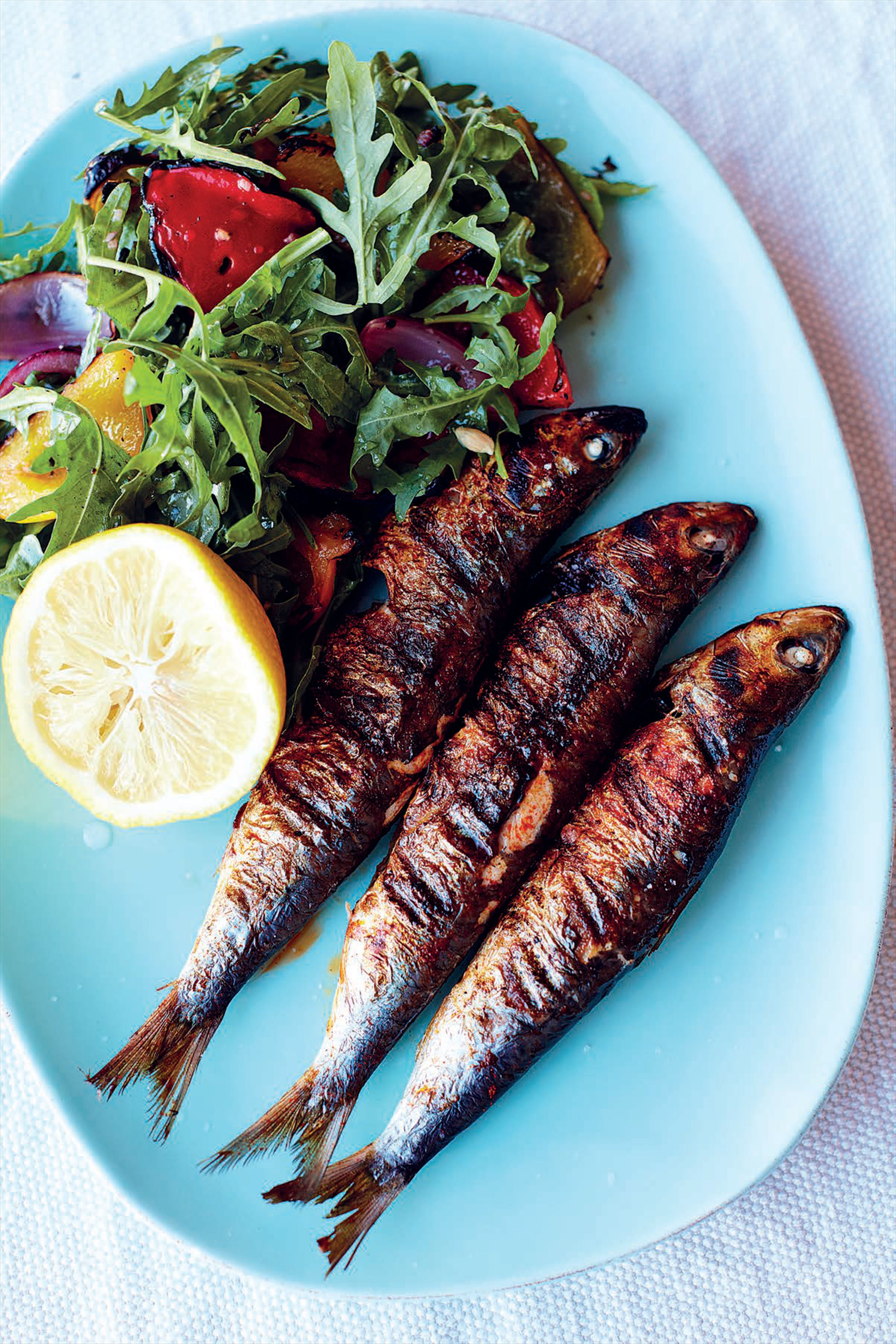 Smoked paprika sardines, marinated pepper salad