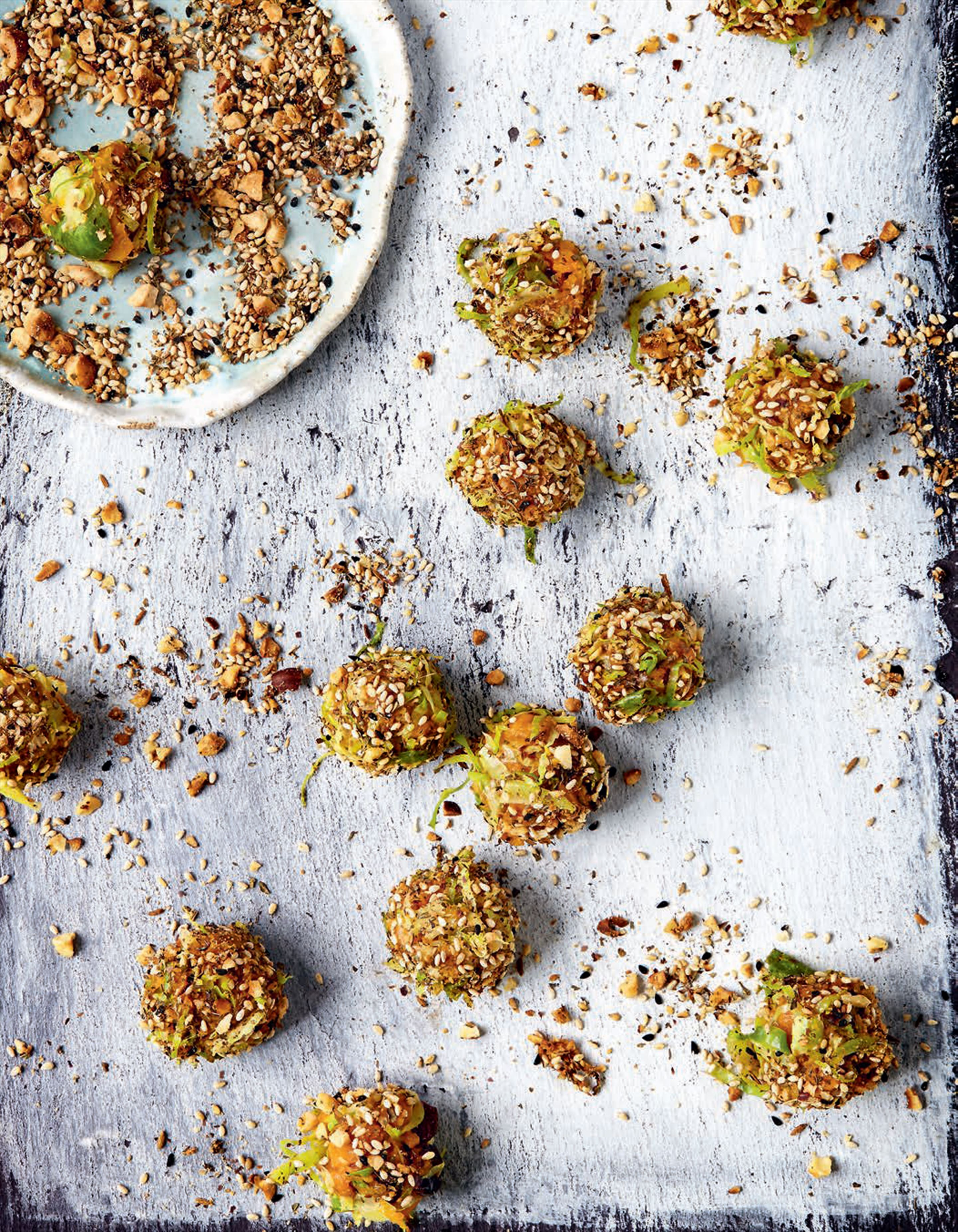 "Pumpkin, sprout and sage ""truffles"" with dukkha"