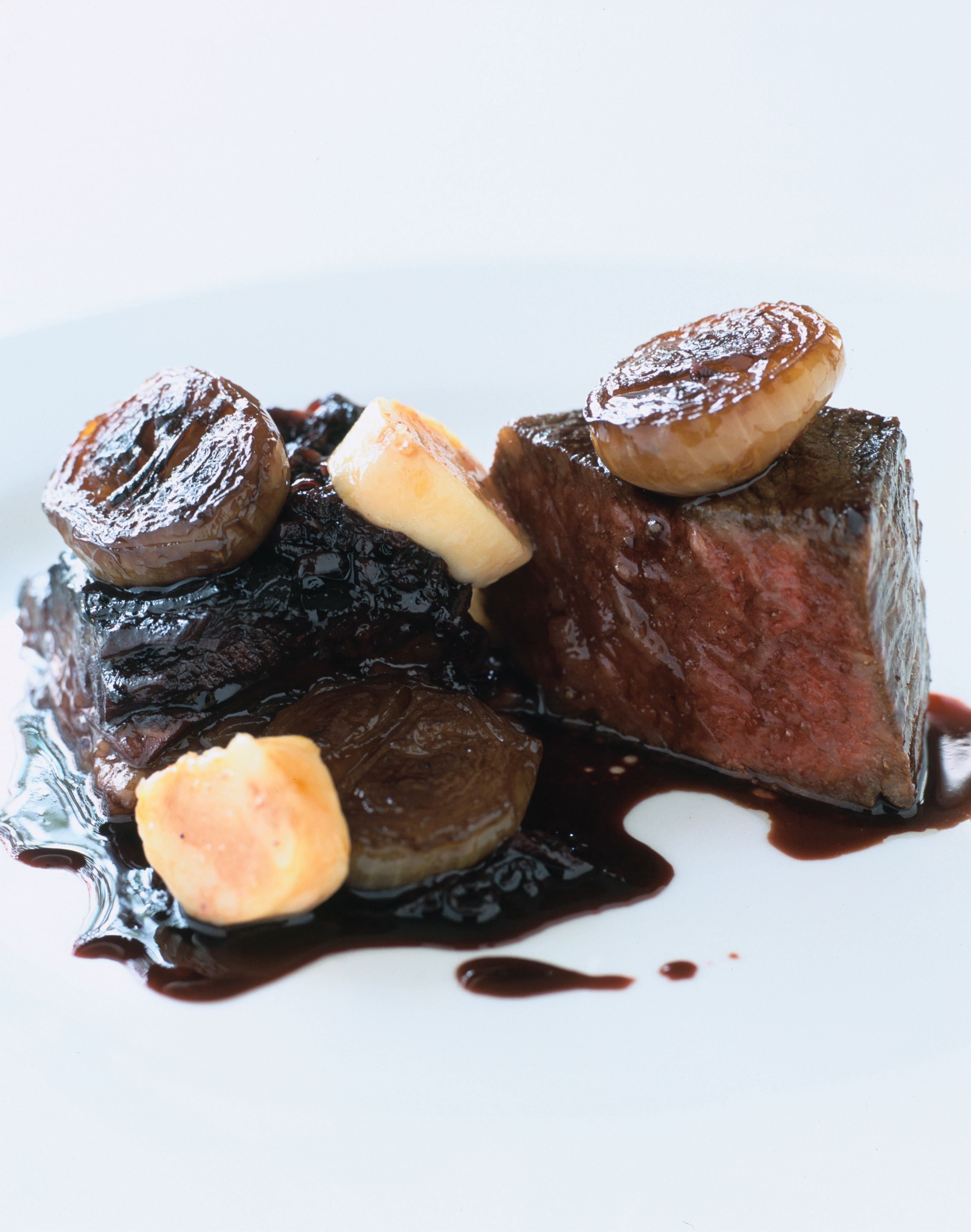 Roast Wagyu sirloin bordelaise with braised brisket and sauce bercy