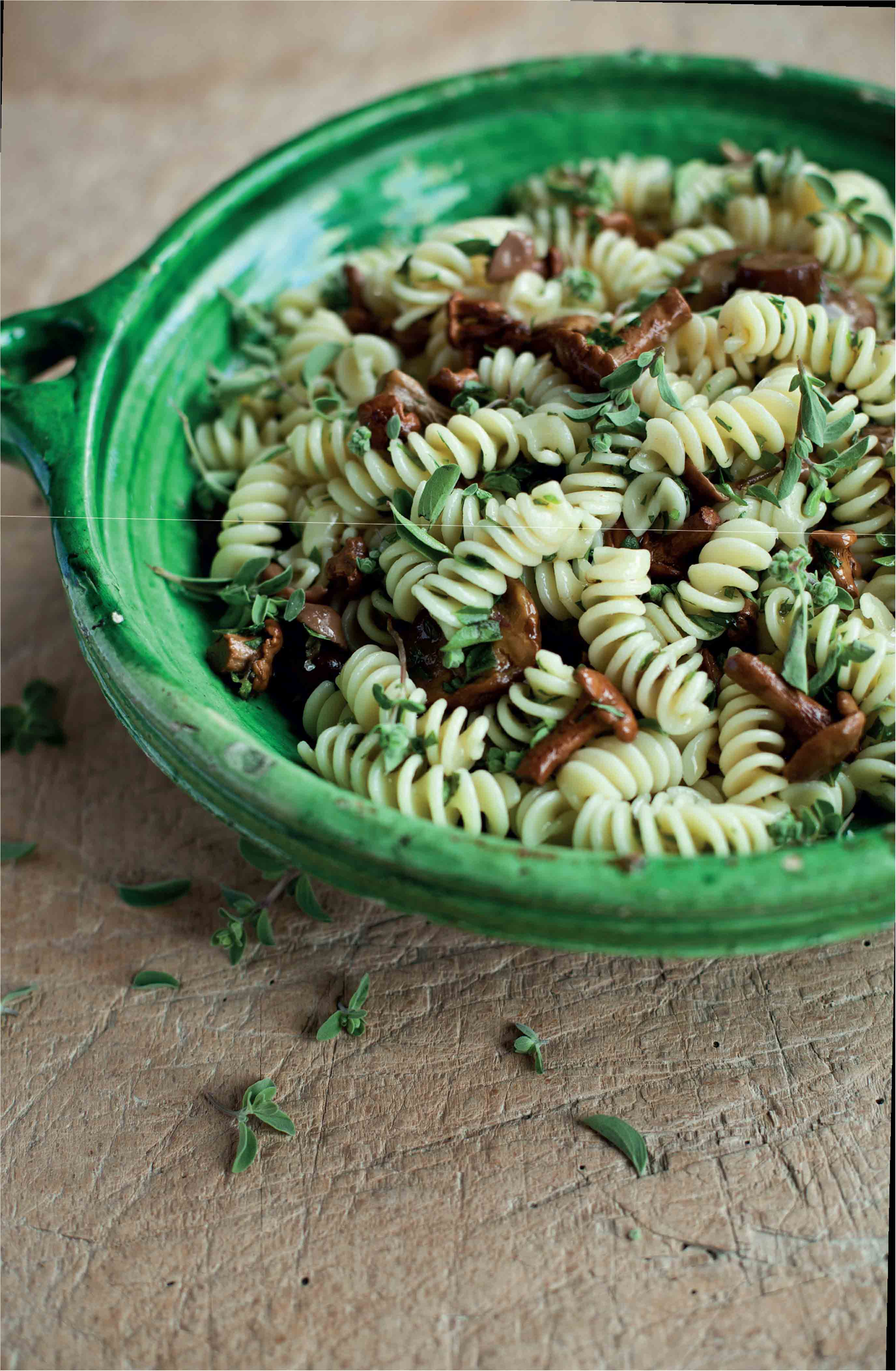 Spiral pasta and pickled wild mushroom salad