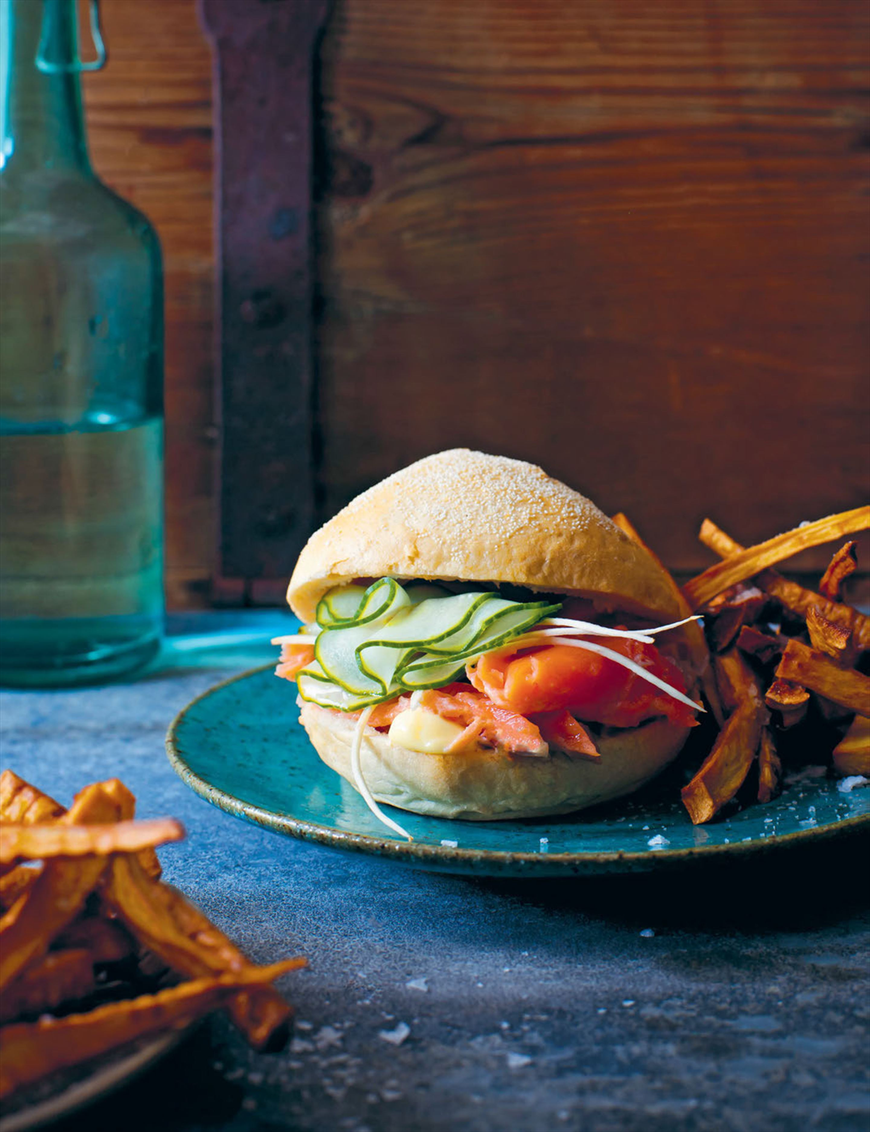 Flaked salmon burger, parsnip fries & horseradish