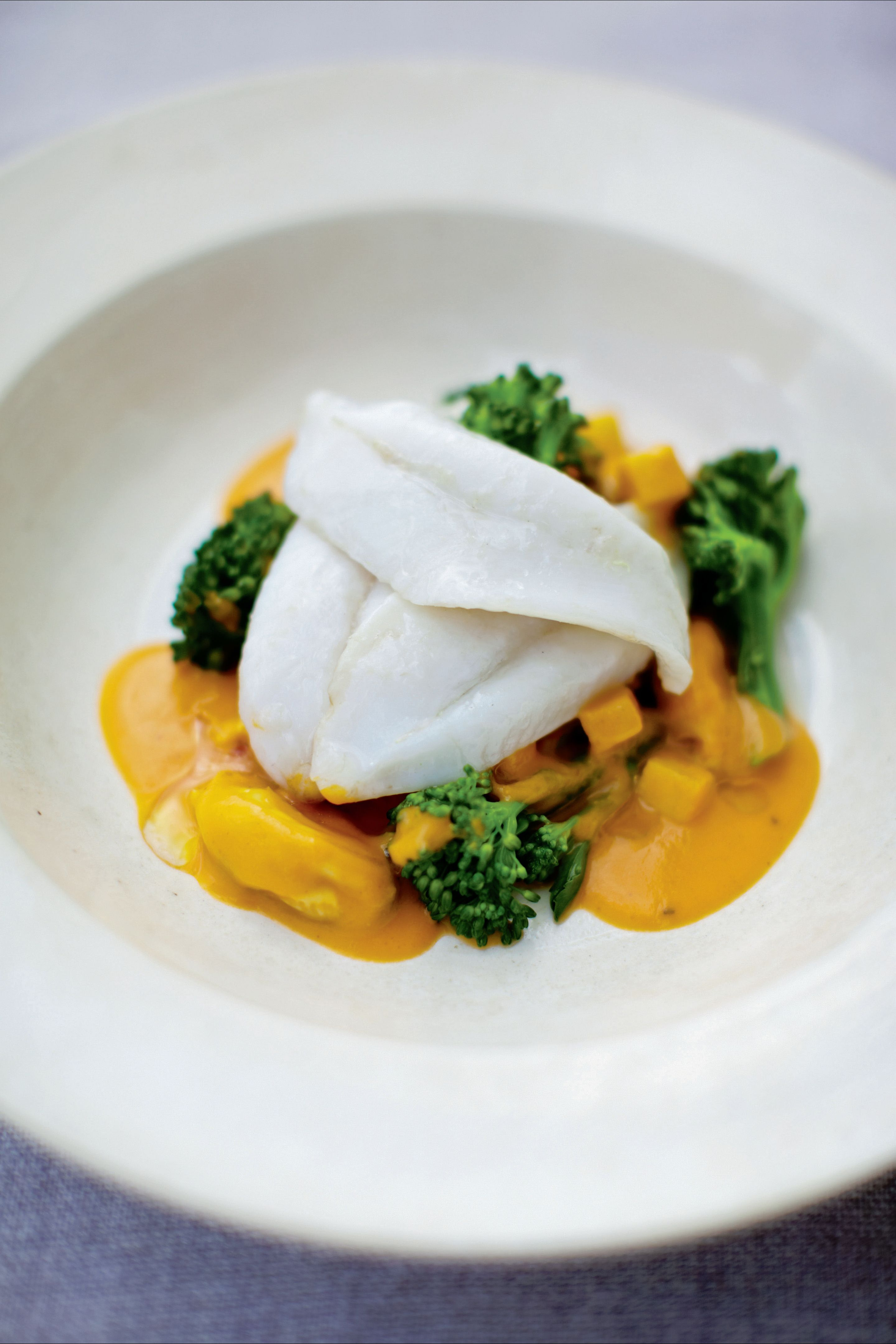 John Dory with mussels in cumin and apple sauce