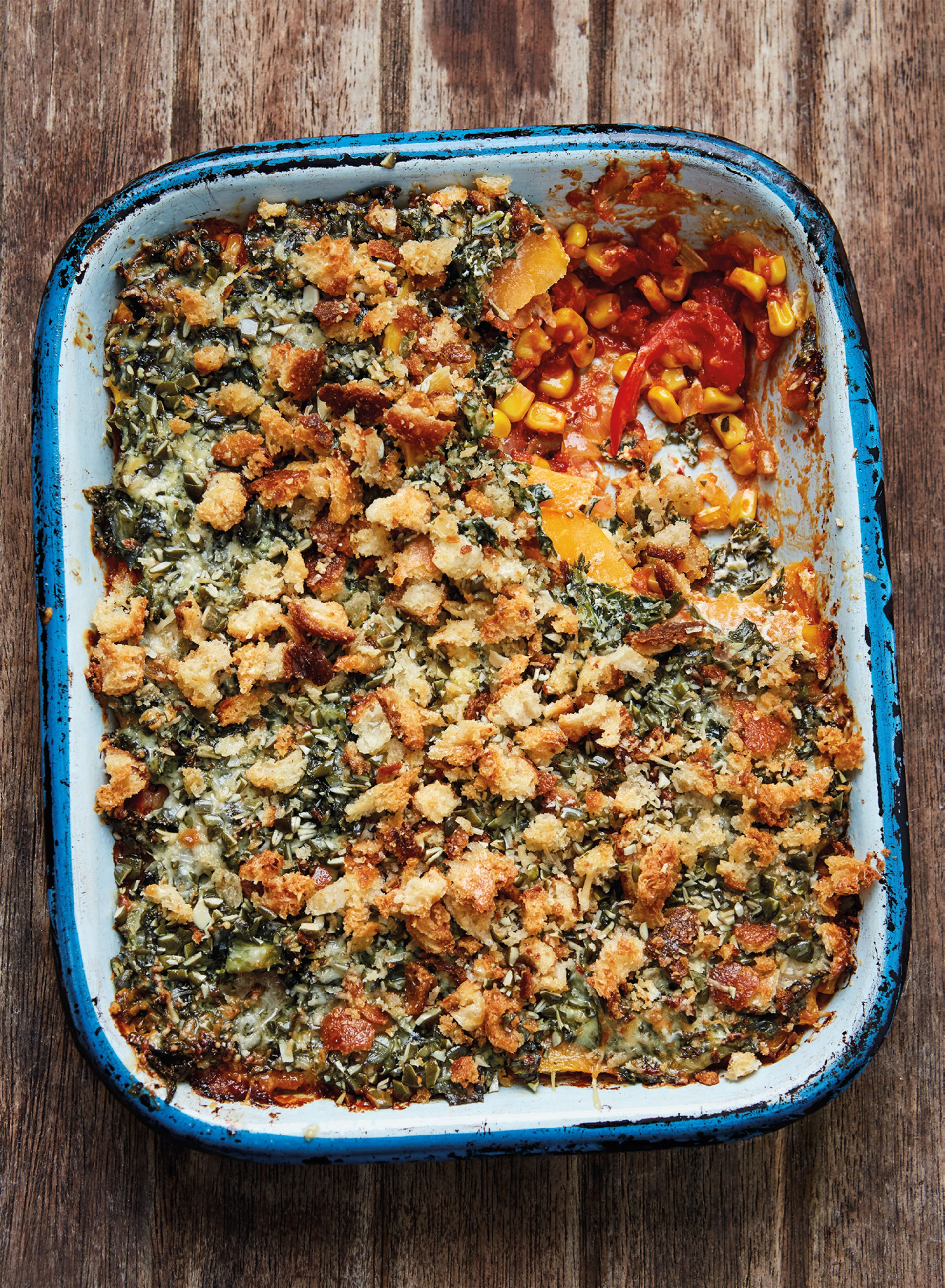 Tomato, squash and creamed kale gratin