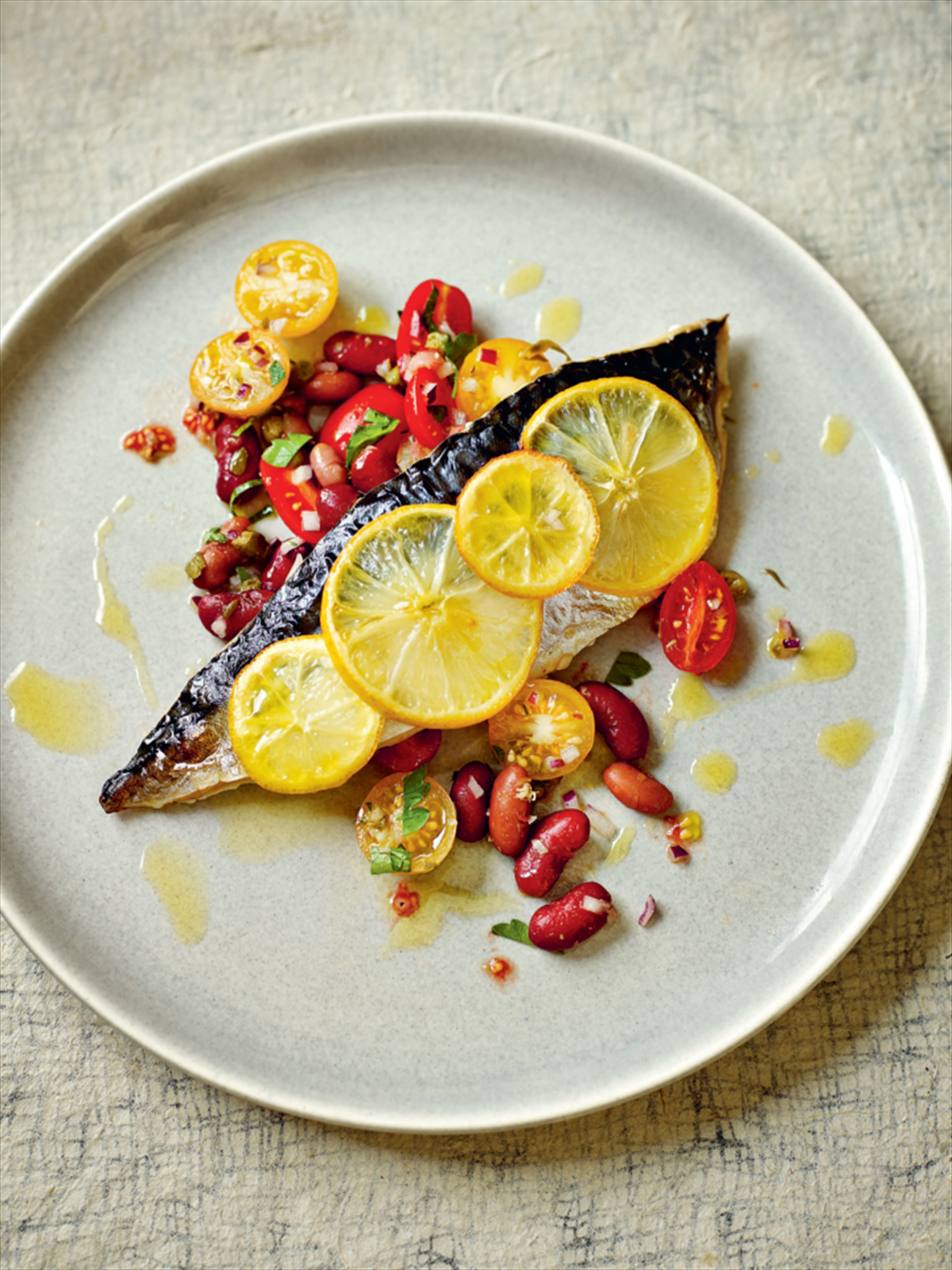 Mackerel with herbed mixed bean salad