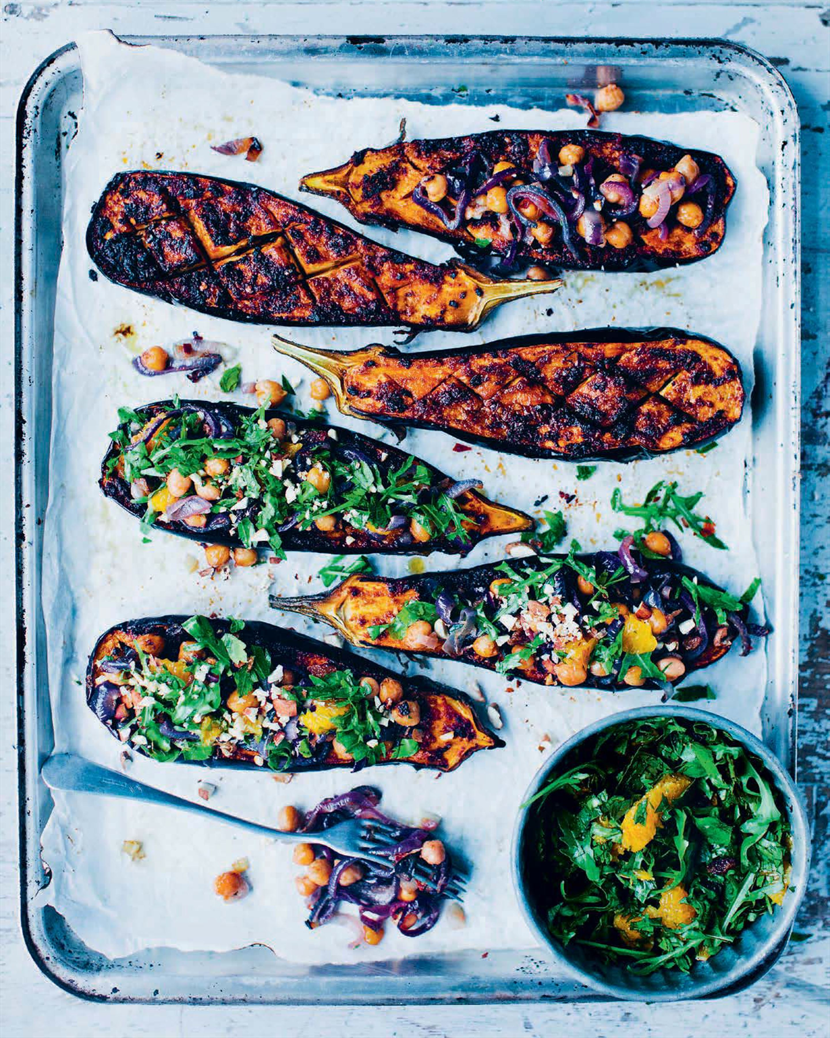Chermoula baked aubergine with spiced chickpeas
