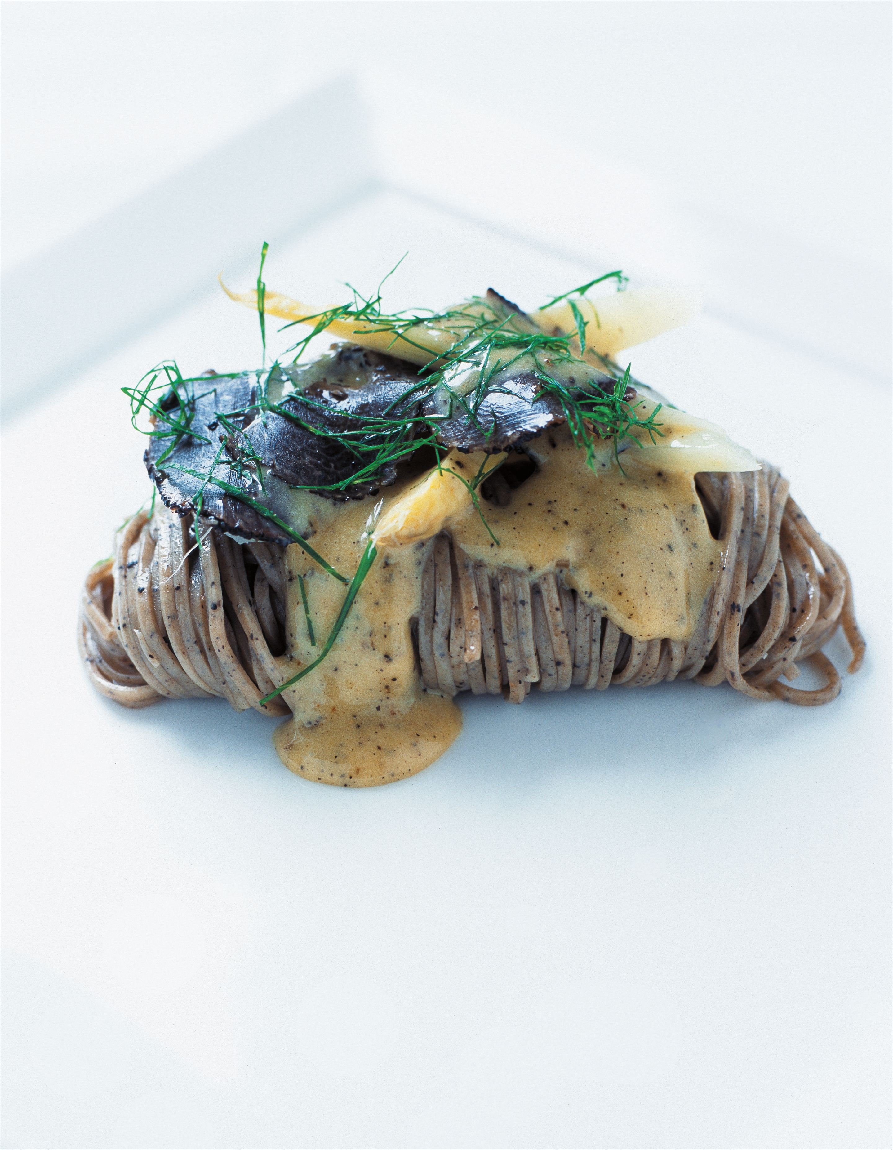 Truffle linguine with sautéed white asparagus and truffle hollandaise