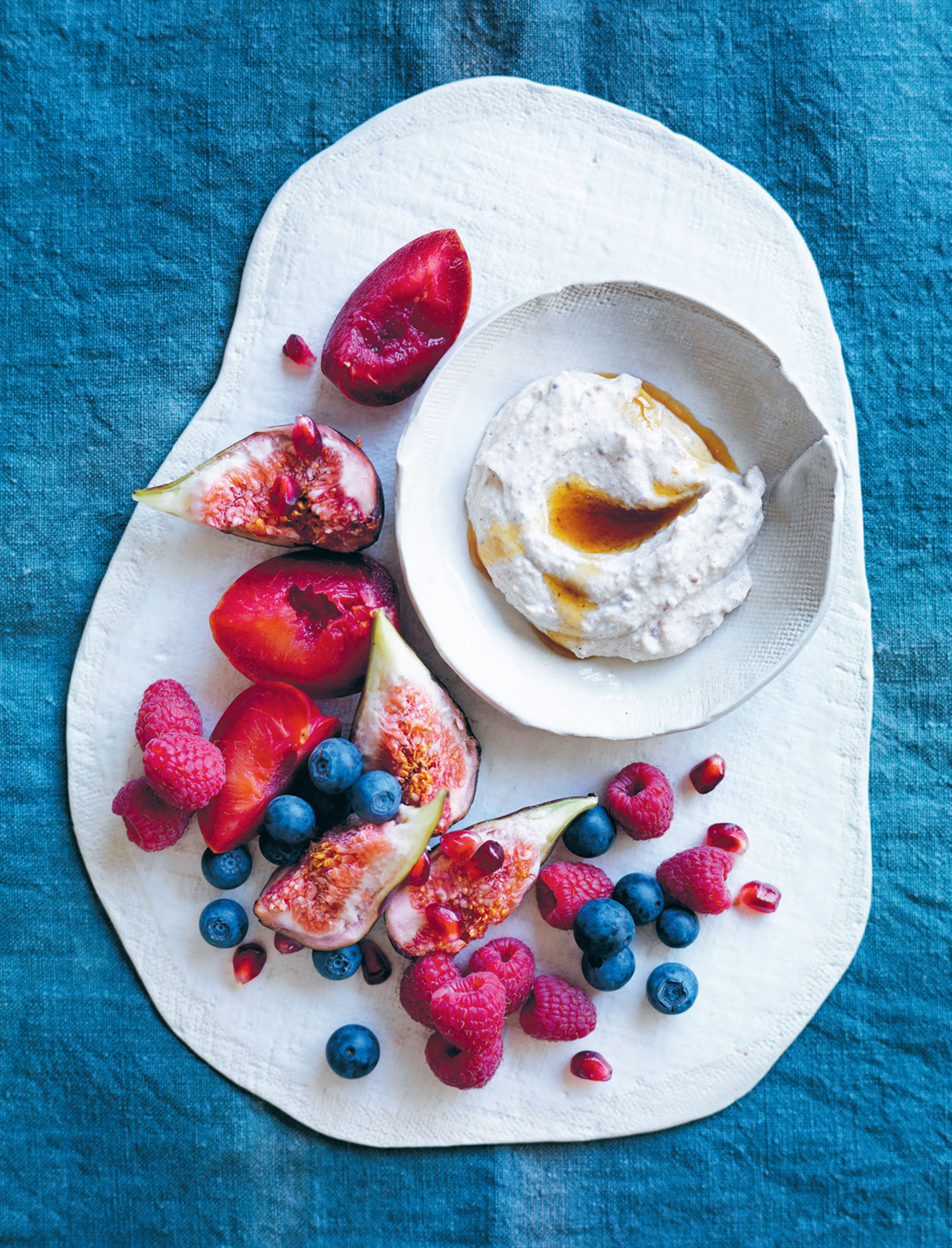 Fresh fruit with cinnamon ricotta yoghurt