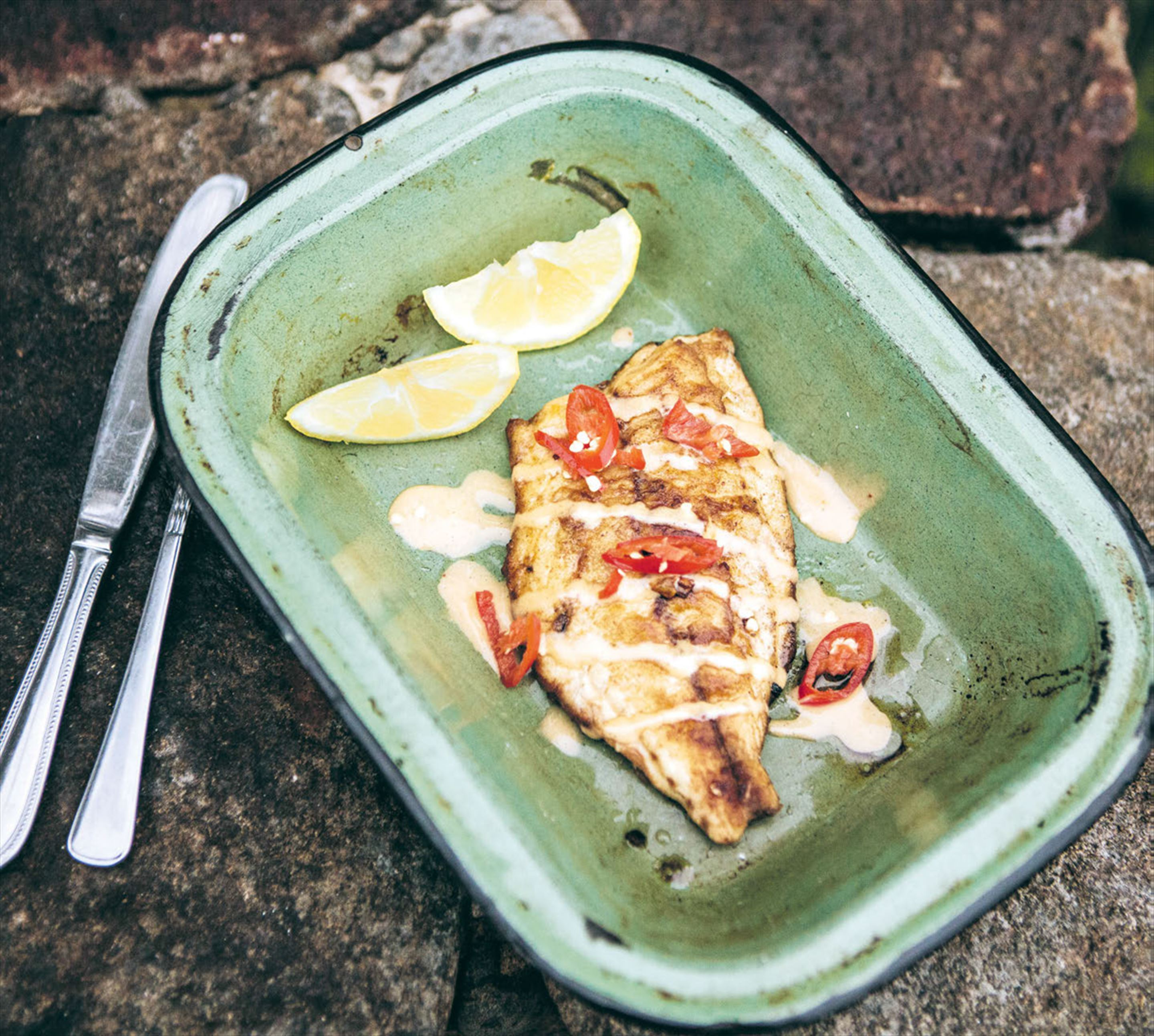 Australian salmon with pimenton and chilli aioli