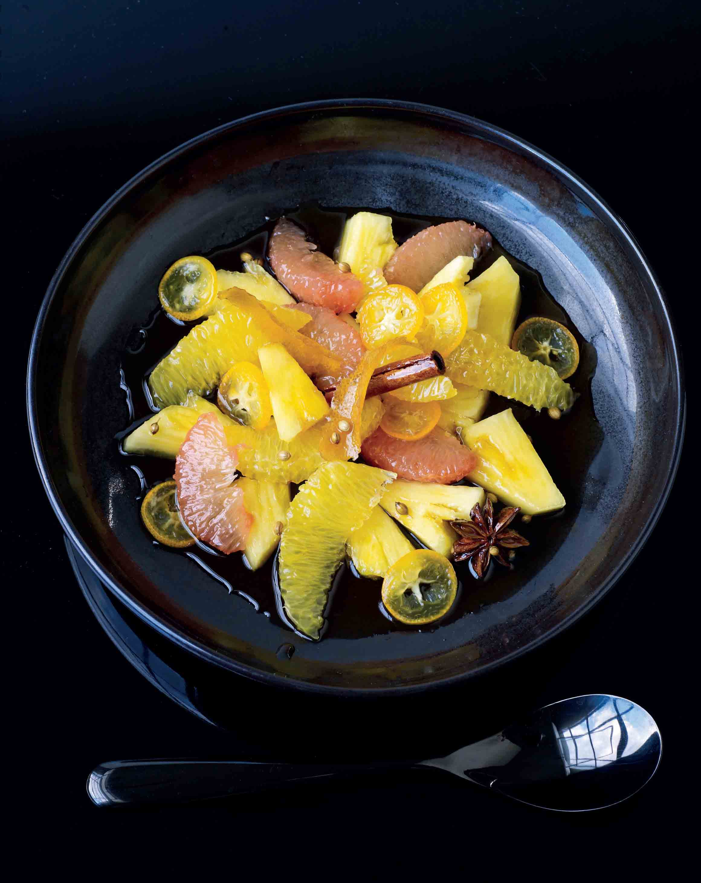 Citrus fruit salad in spiced caramel