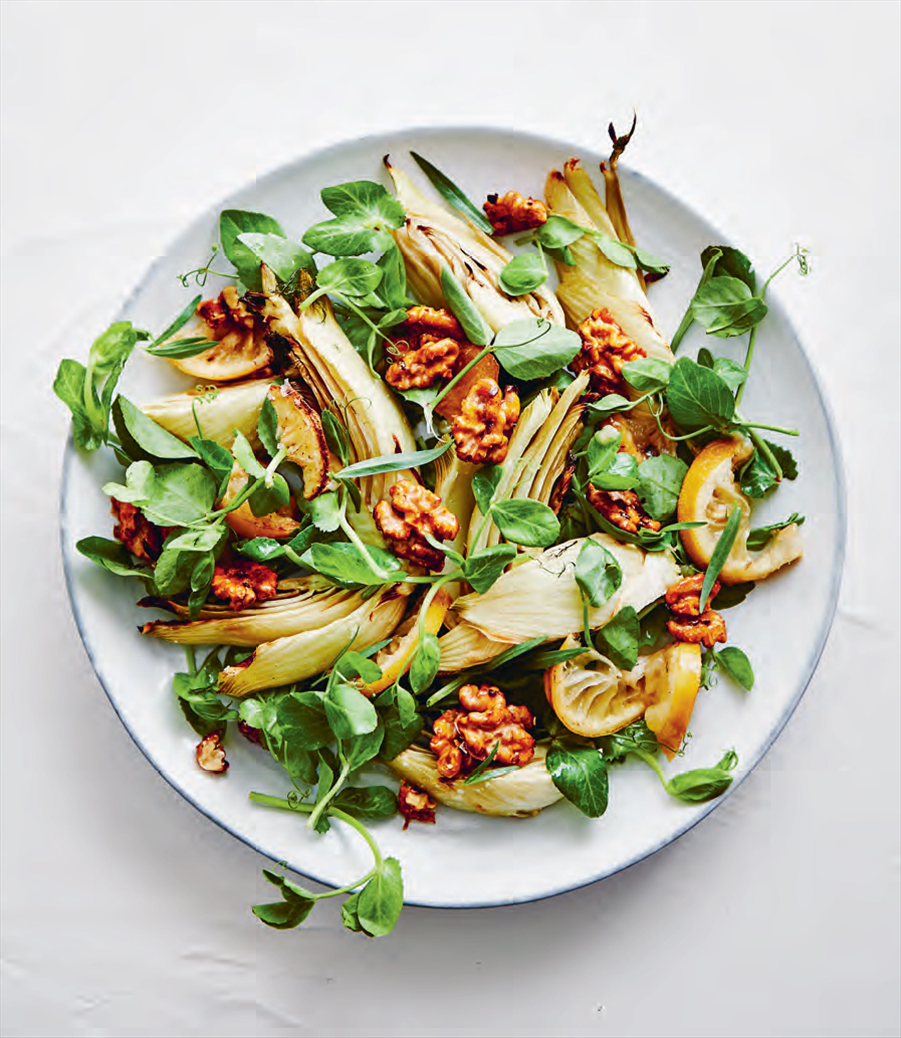 Roasted fennel & lemon salad with turmeric walnuts