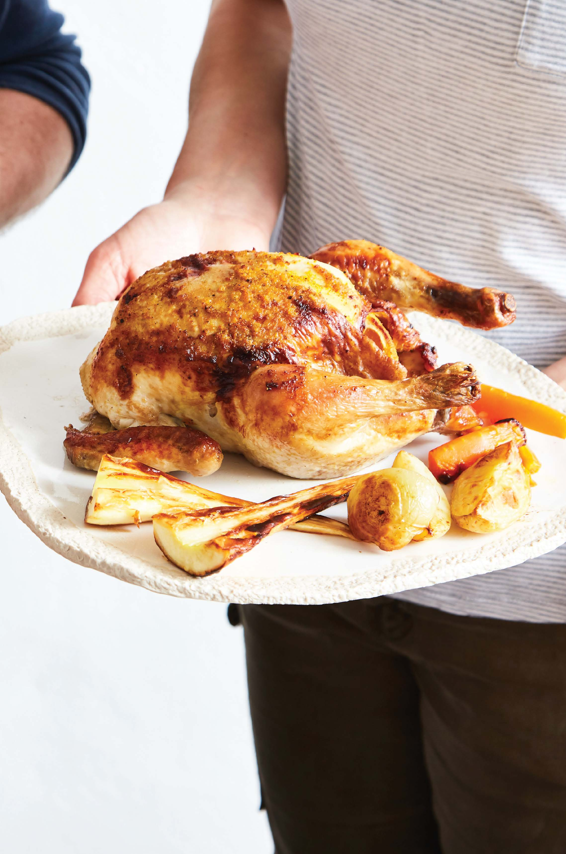Roast chicken with orange butter rub, roasted vegetables and creamy gravy