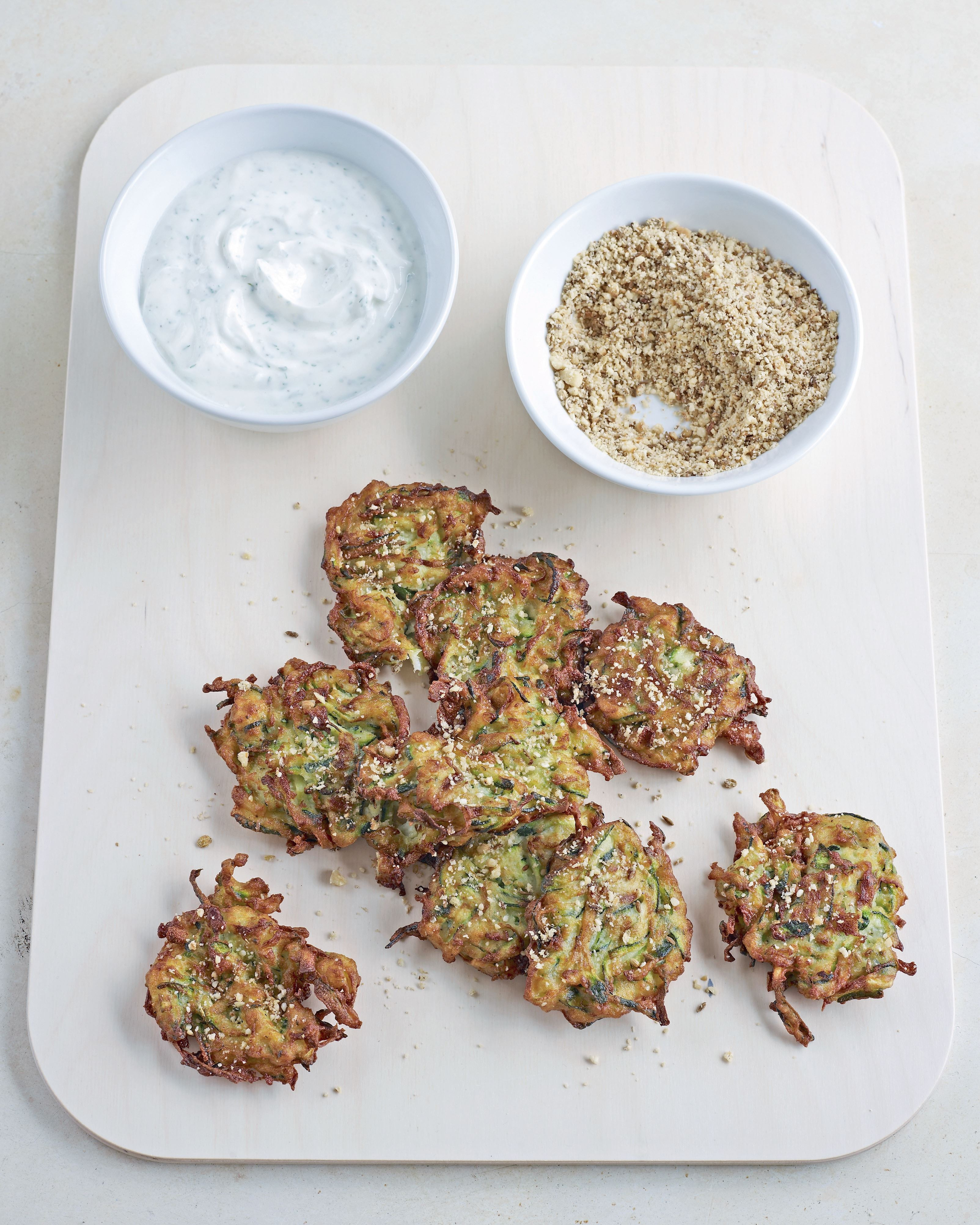 Courgette fritters with dukkah