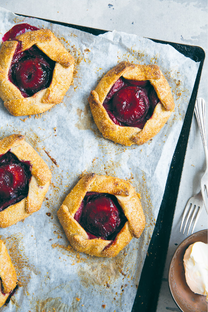 Wholegrain spelt and blood plum galettes