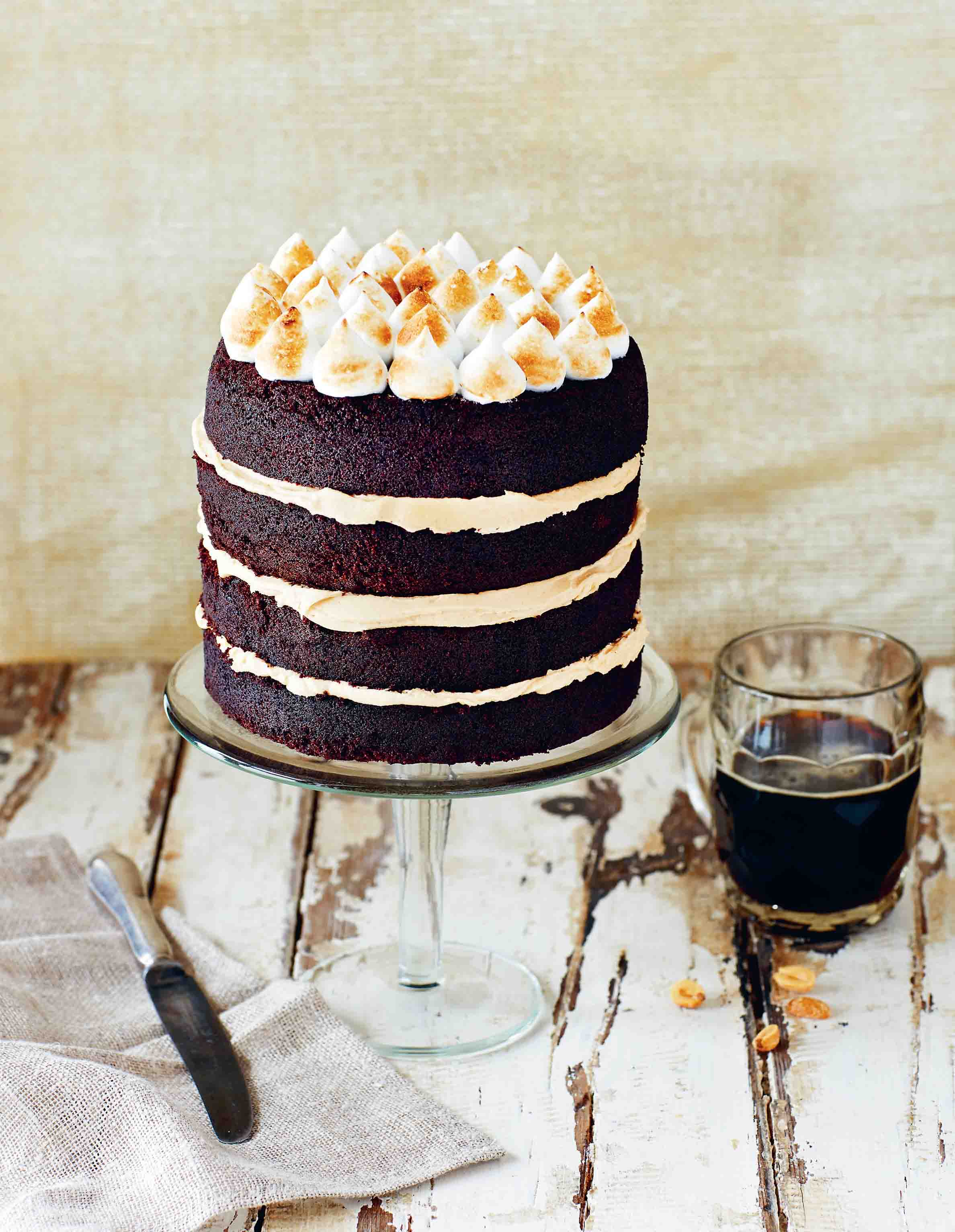 Toasted porter, peanut and chocolate cake