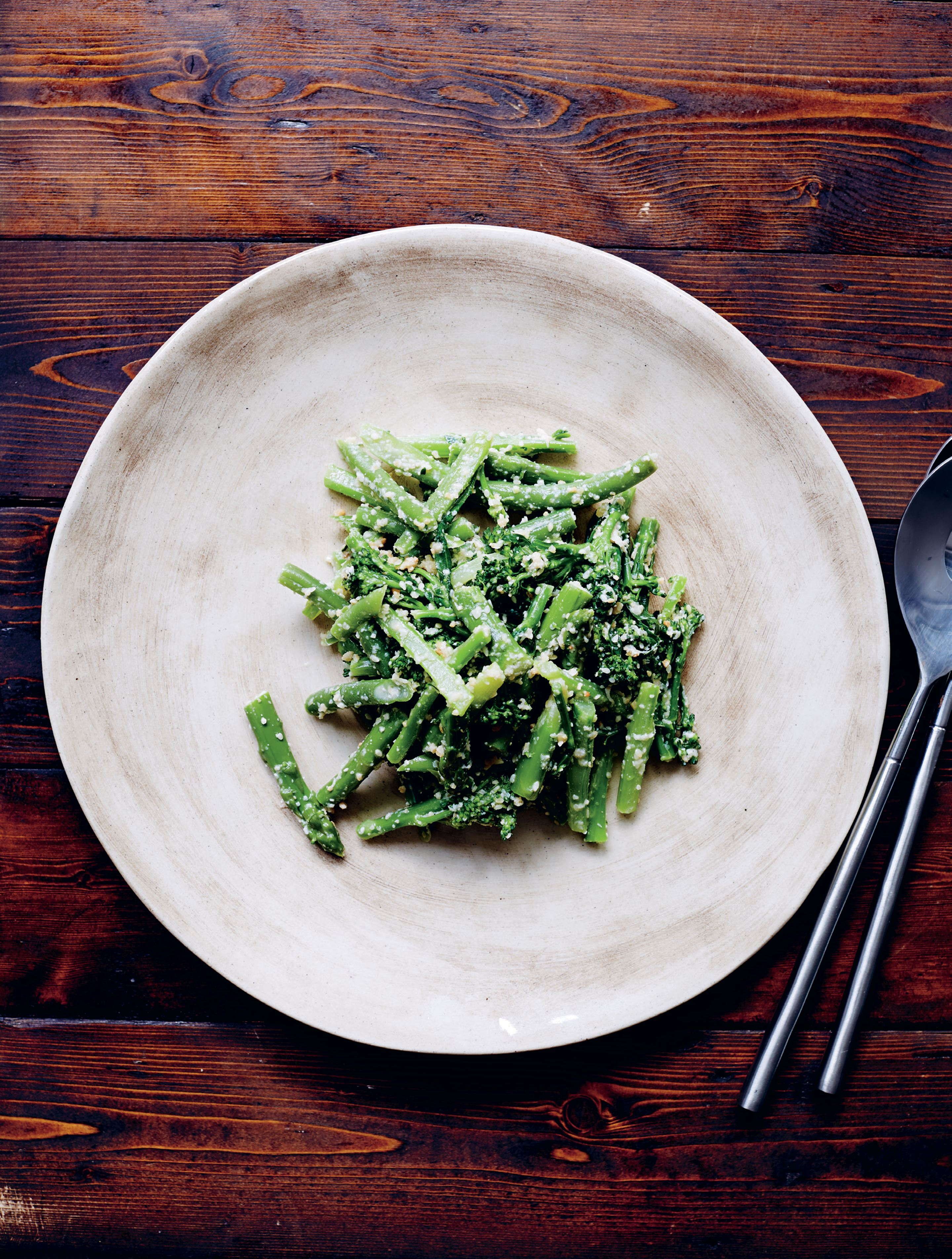 Salad of asparagus, broccolini, beans & sesame ginger dressing