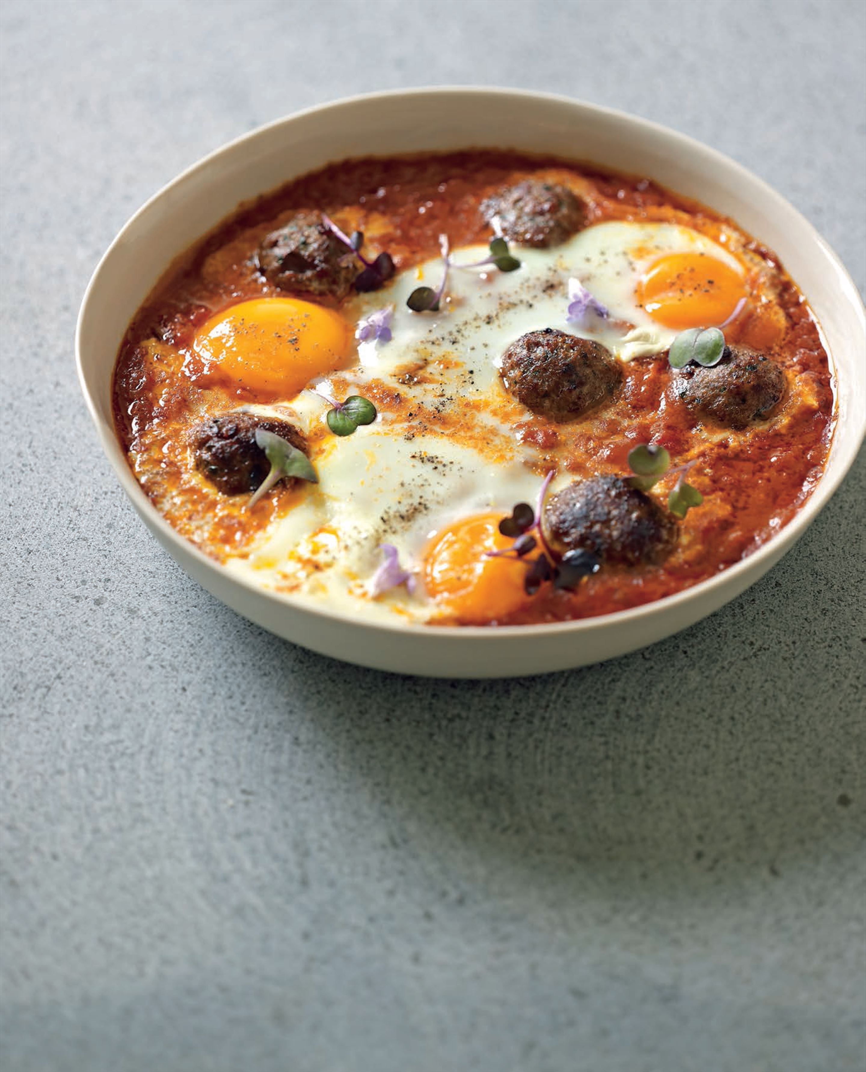 Lamb kifta tagine with eggs