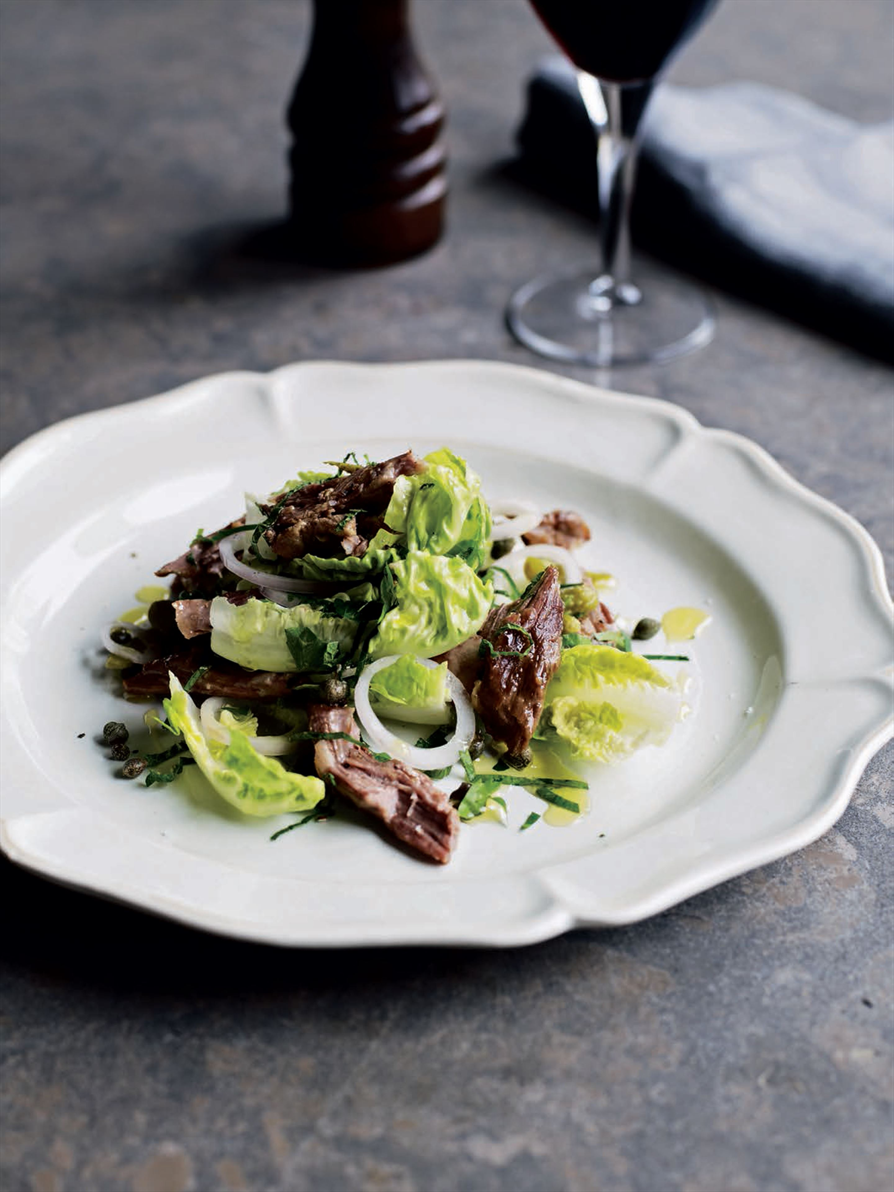 Confit lamb salad with capers and gherkins