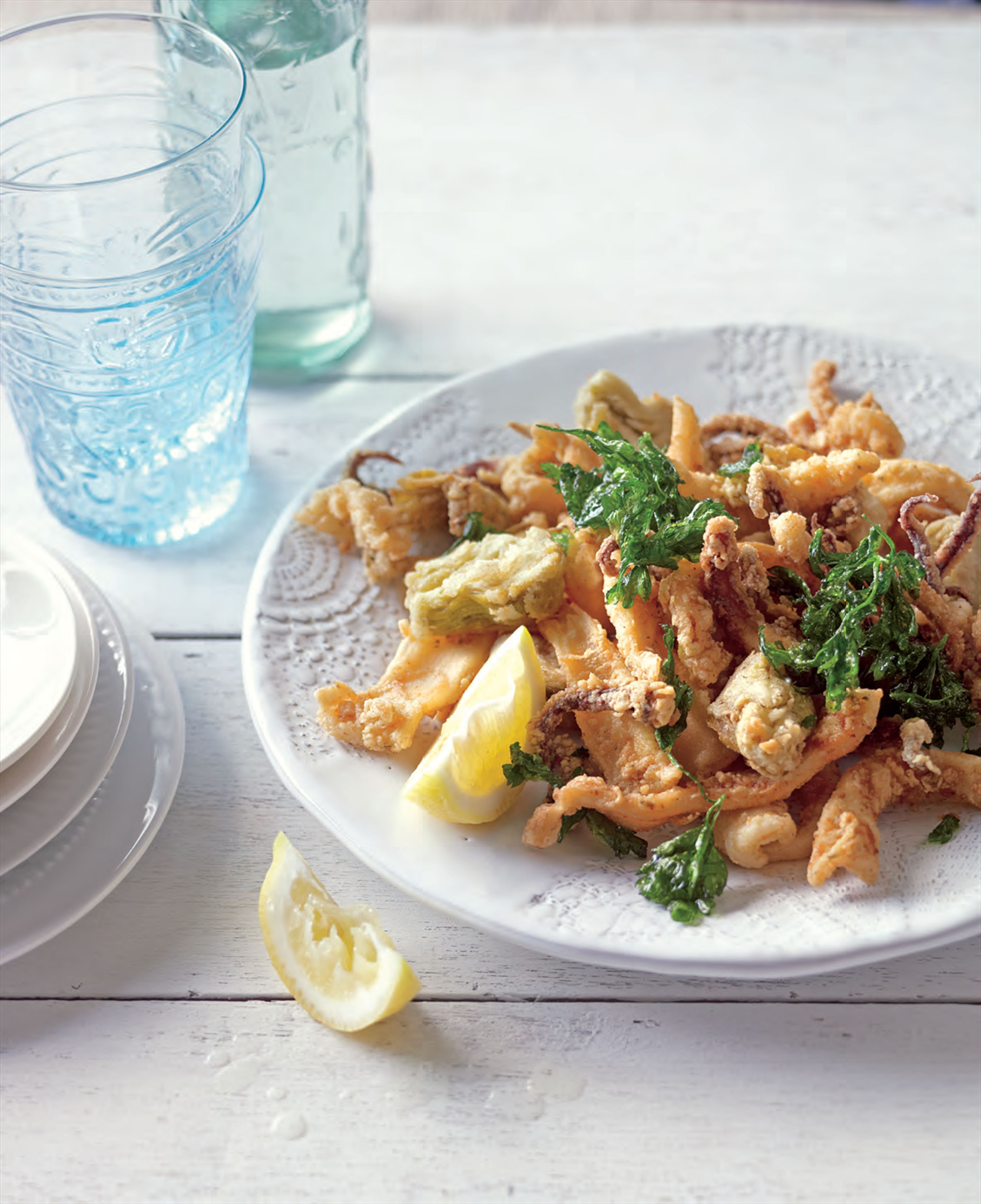 Fried calamari and artichokes