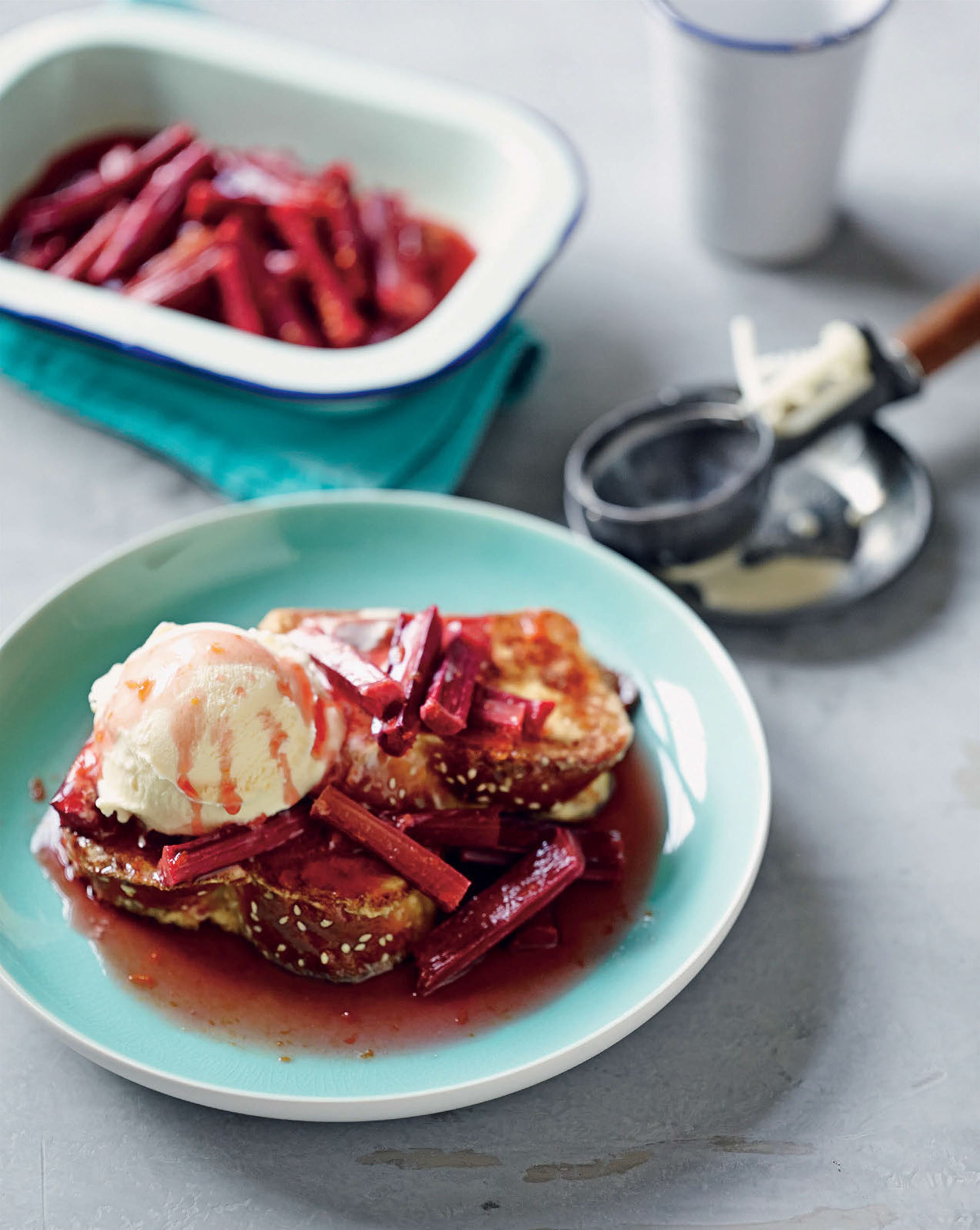French toast with baked rhubarb, almonds and vanilla ice cream