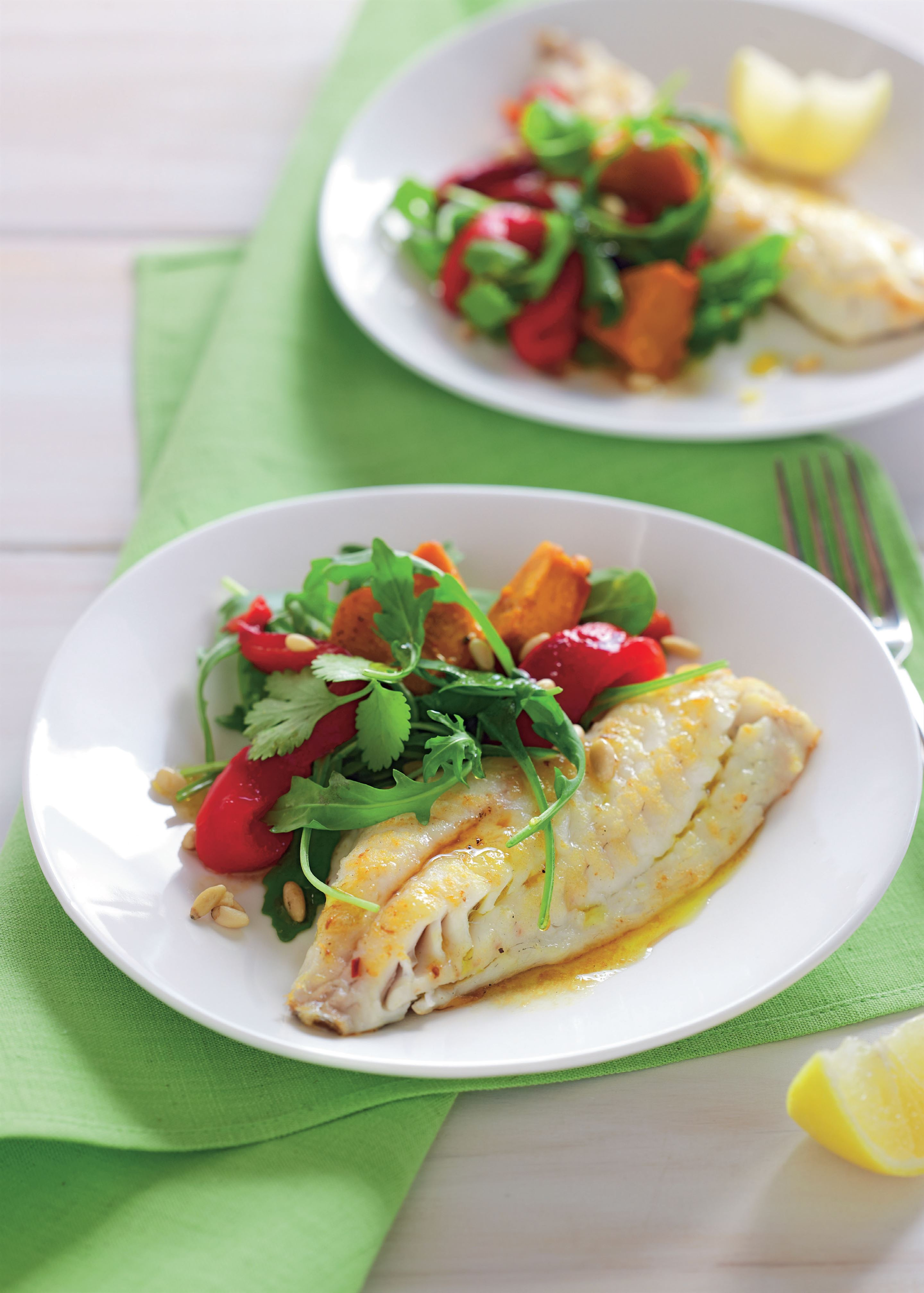 Snapper with spinach and pumpkin salad