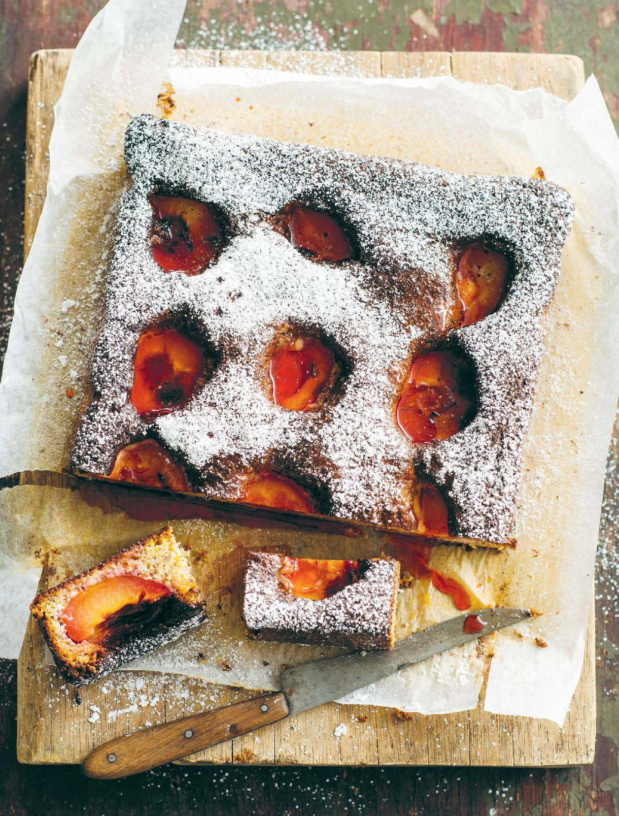 Gluten-free plum, rosemary and hazelnut cake