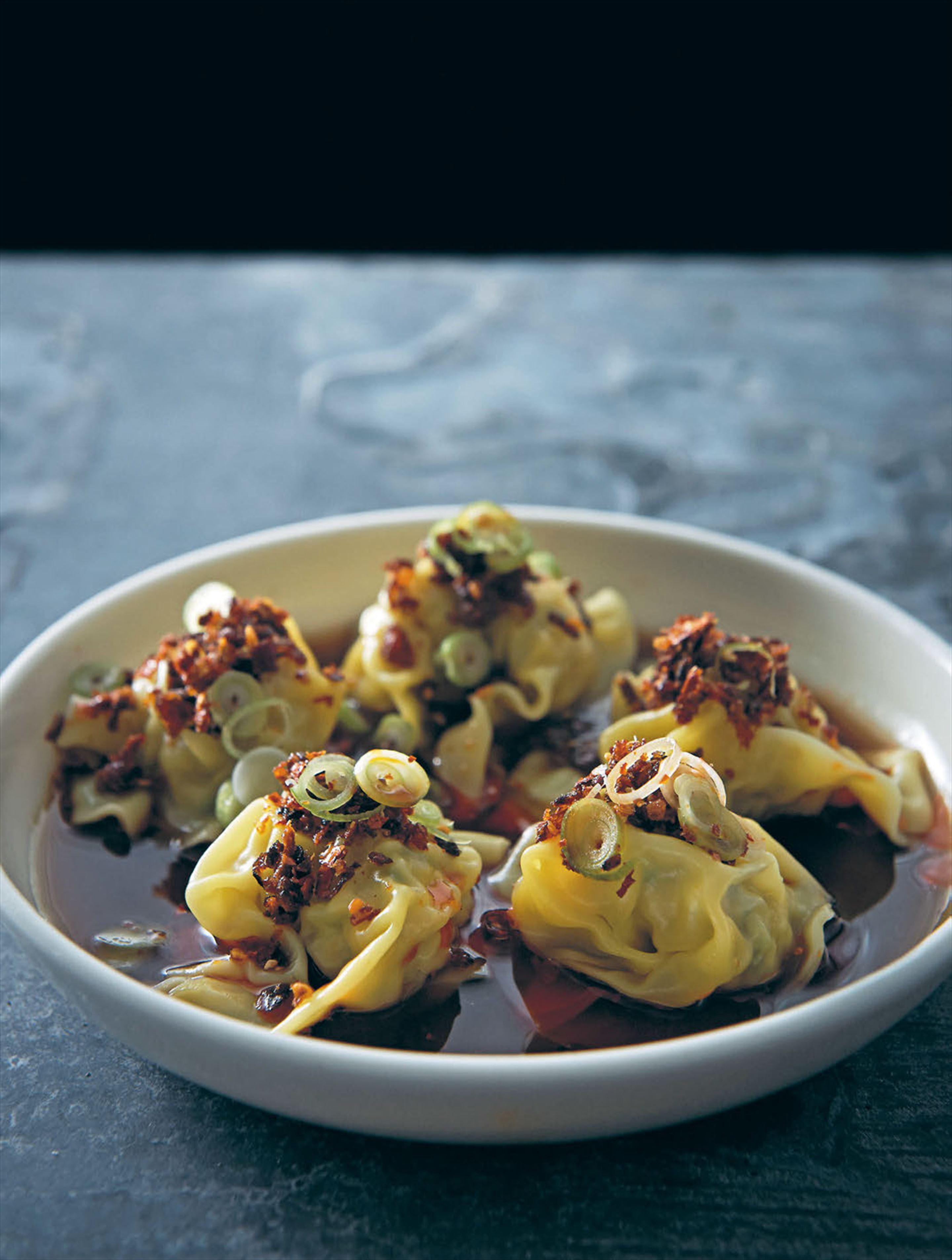 Prawn and chicken dumplings with spiced vinegar
