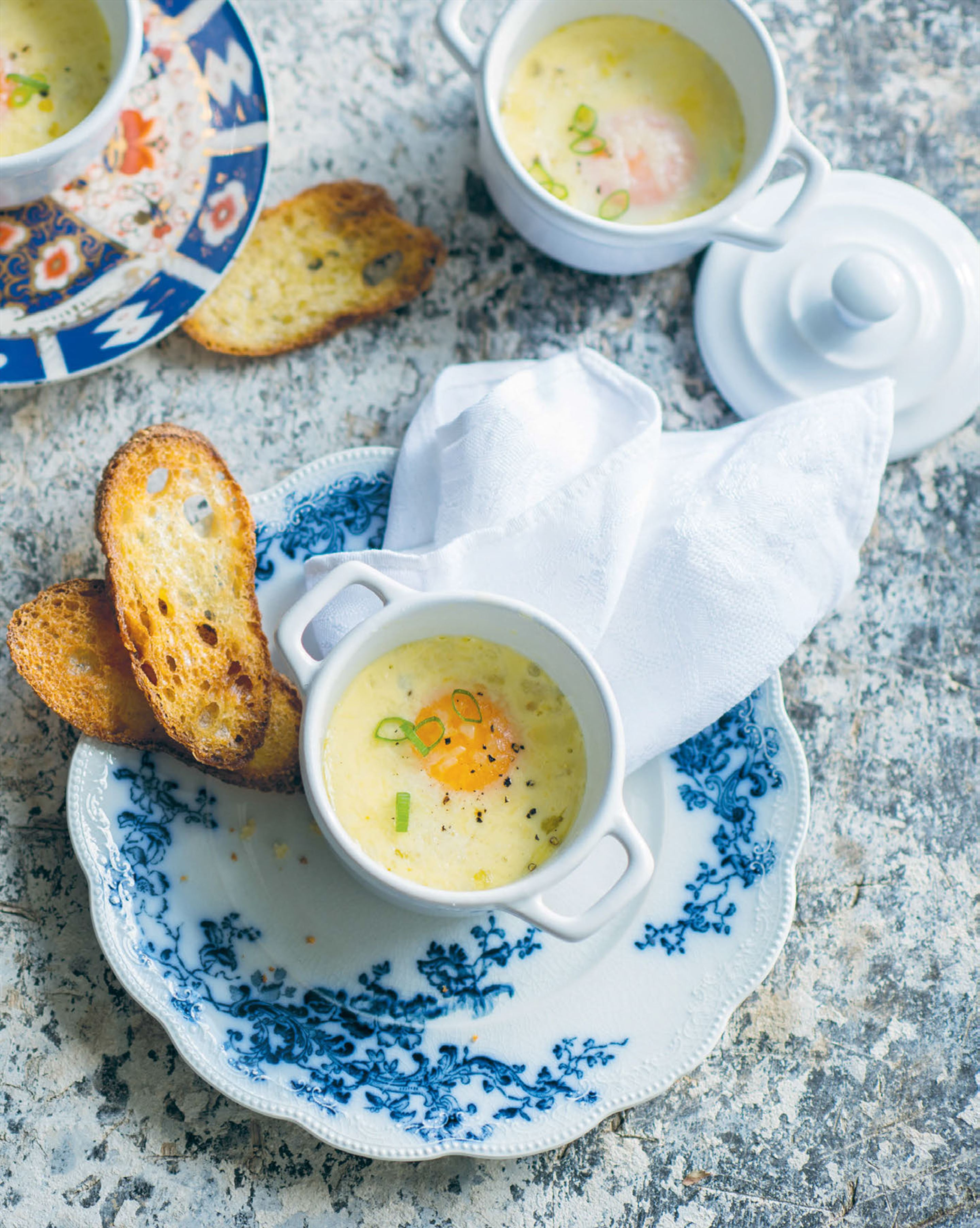 Eggs cocotte with lap cheong