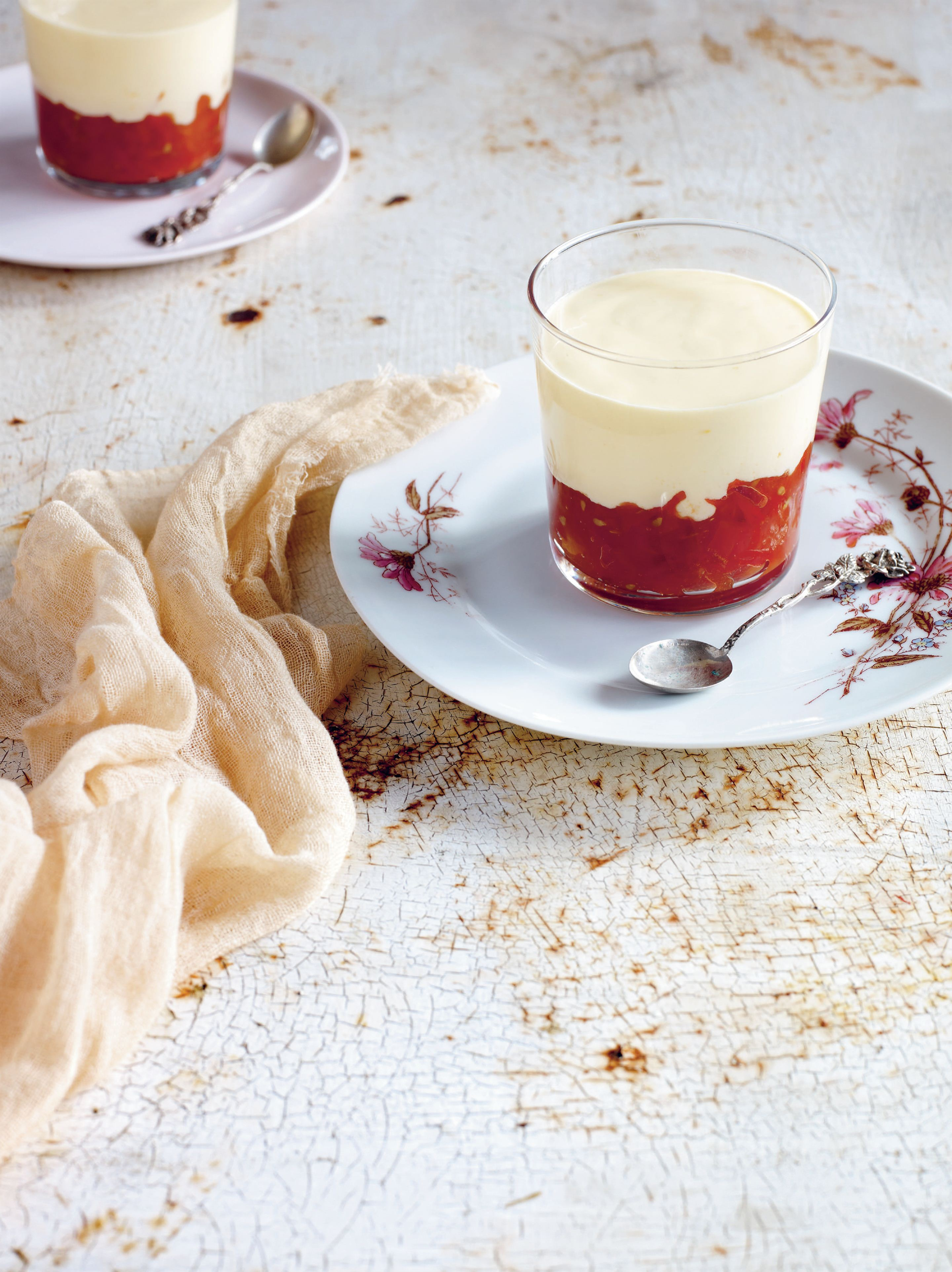 Baked saffron yoghurt pudding with tomato compote