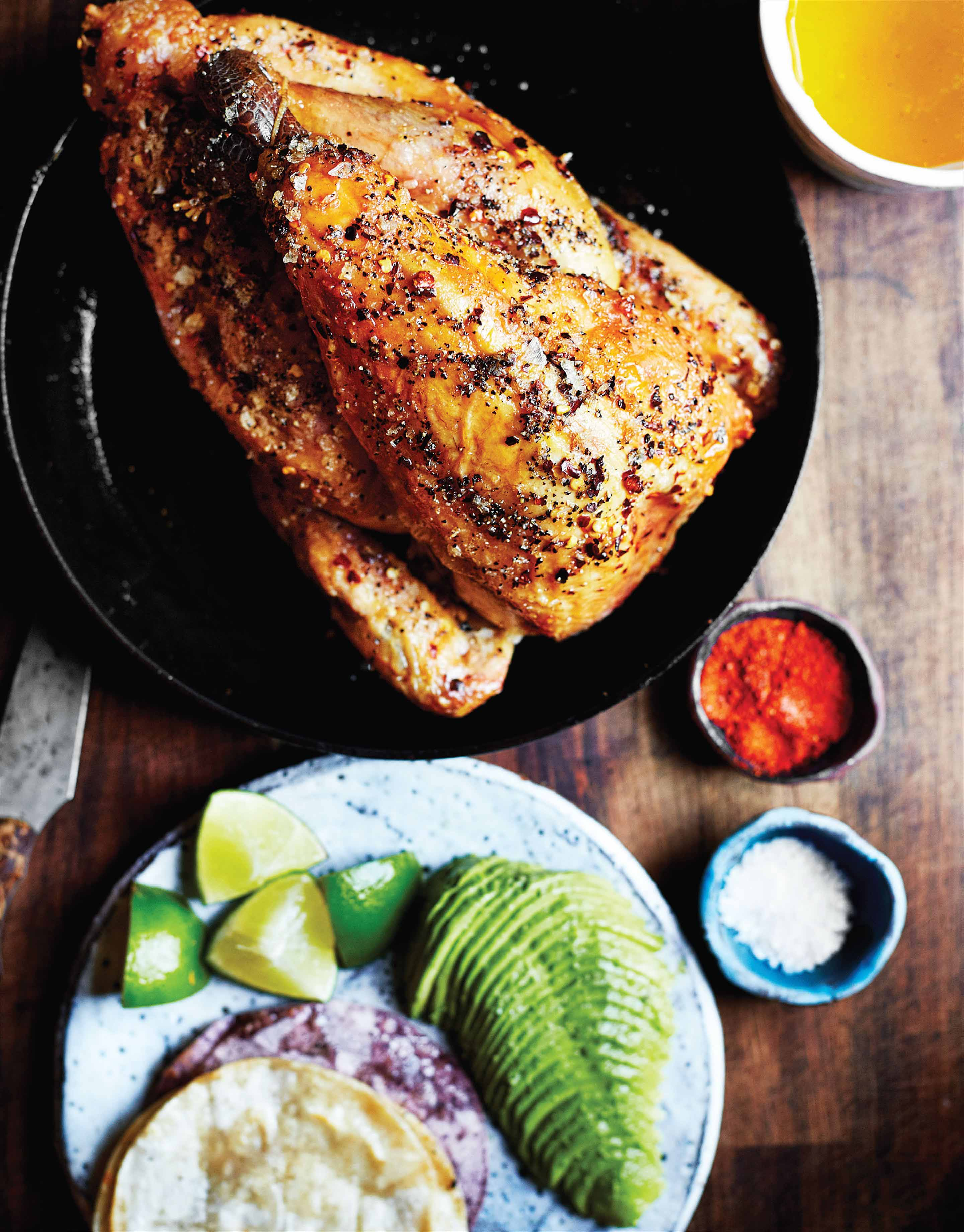 Guinea fowl with avocado