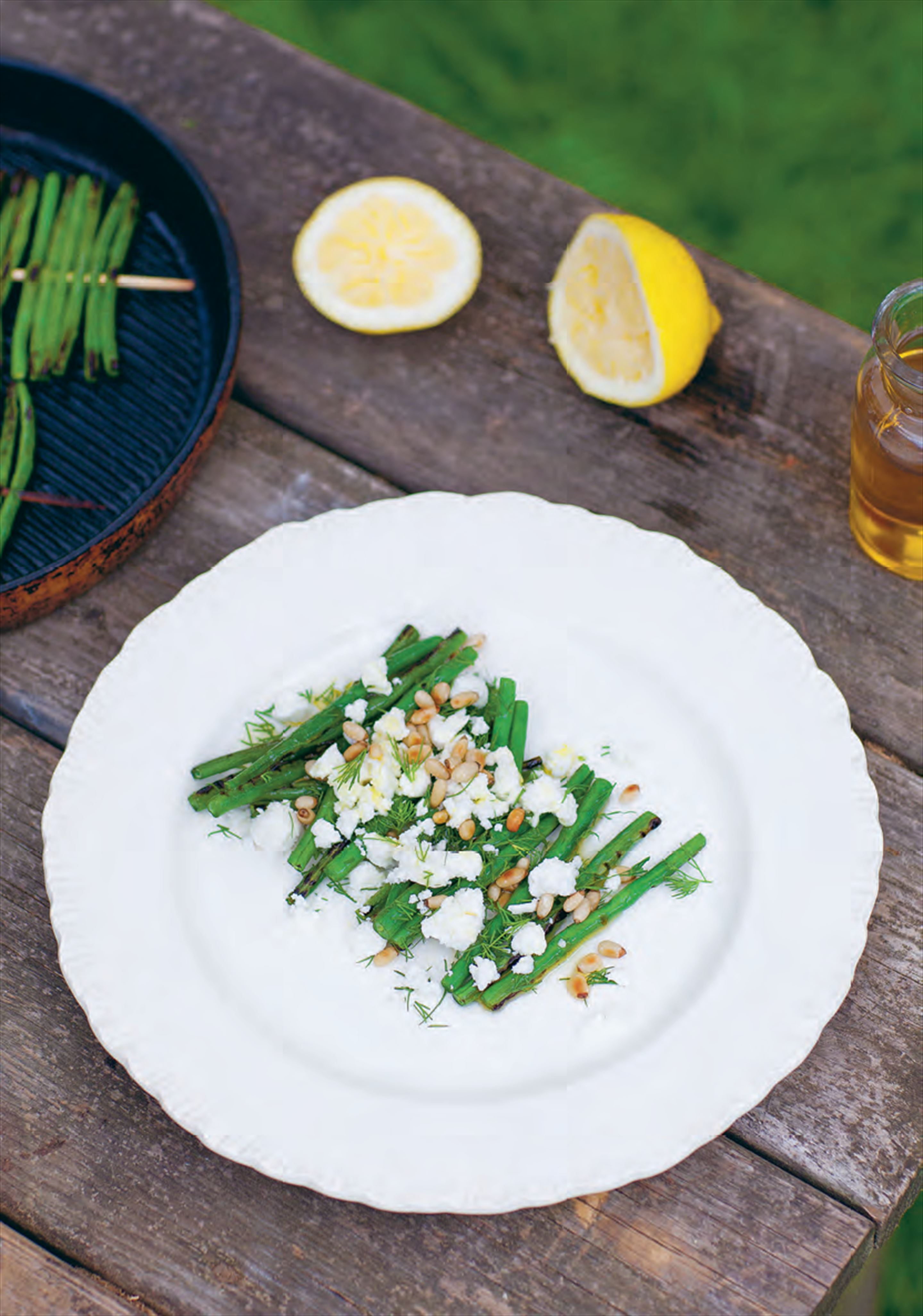 Grilled green beans with feta, dill and pine nuts