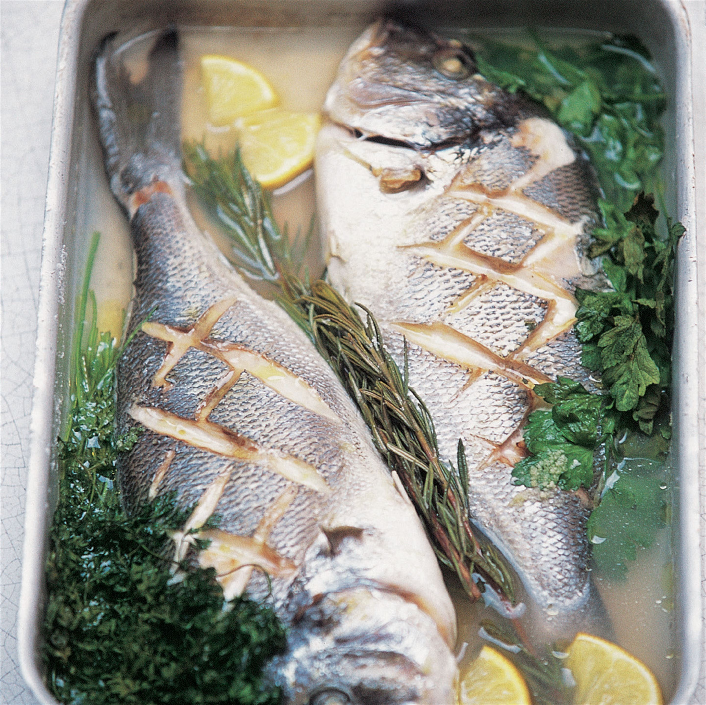 Poached sea bream