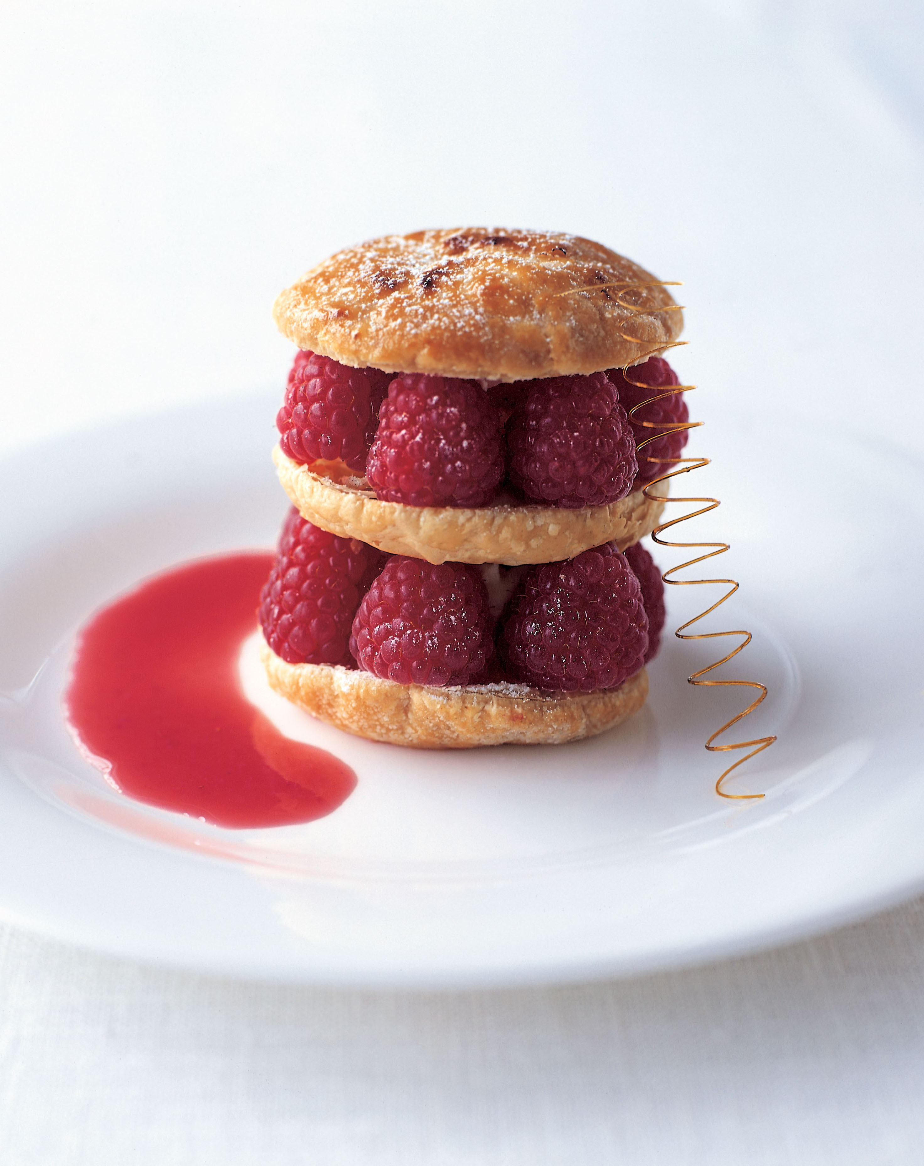 Puff pastry and raspberry stack
