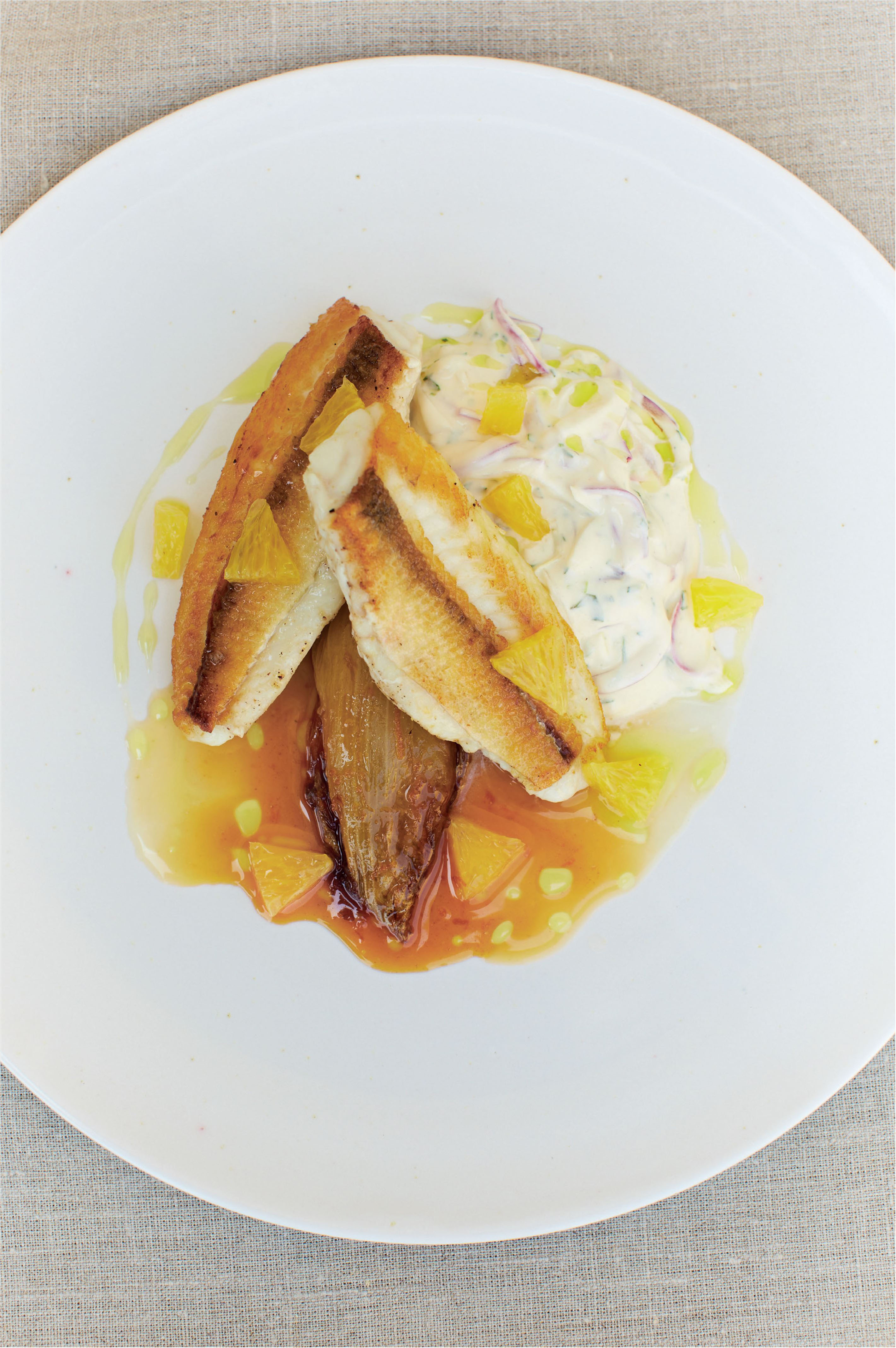 Gurnard with caramelised chicory and orange