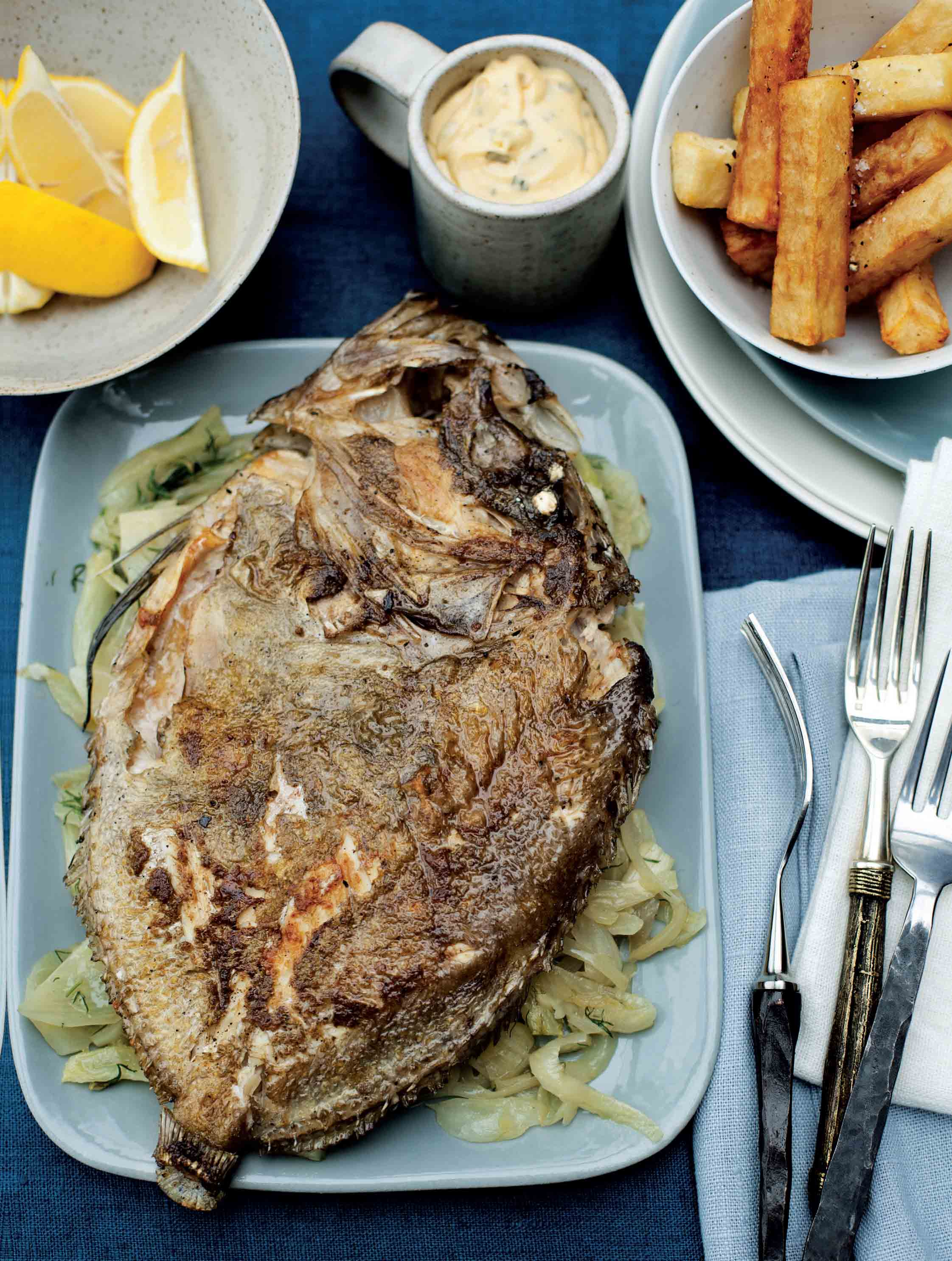 Whole roasted John Dory with braised fennel, chips and béarnaise sauce