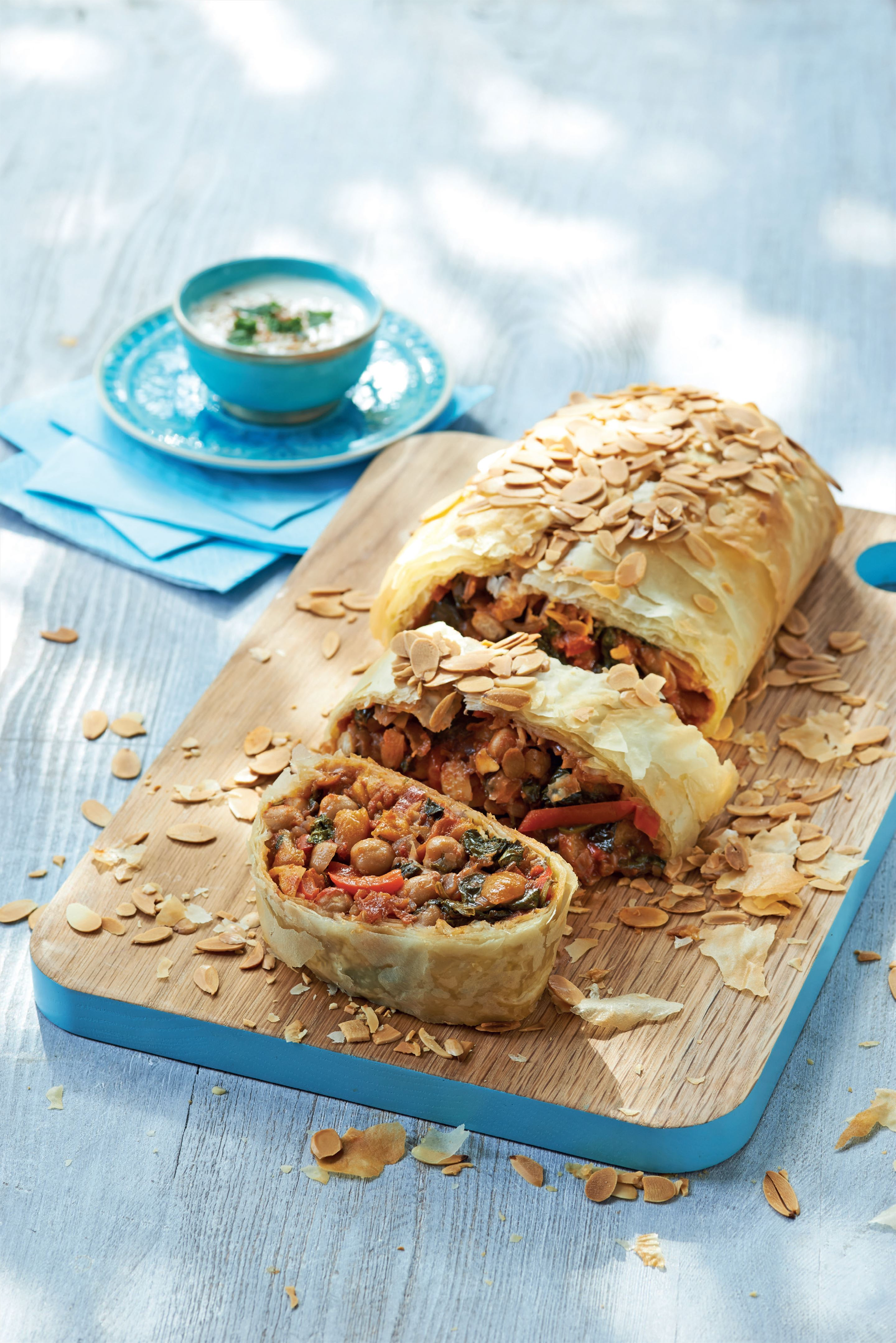 Moroccan spinach and chickpea strudel