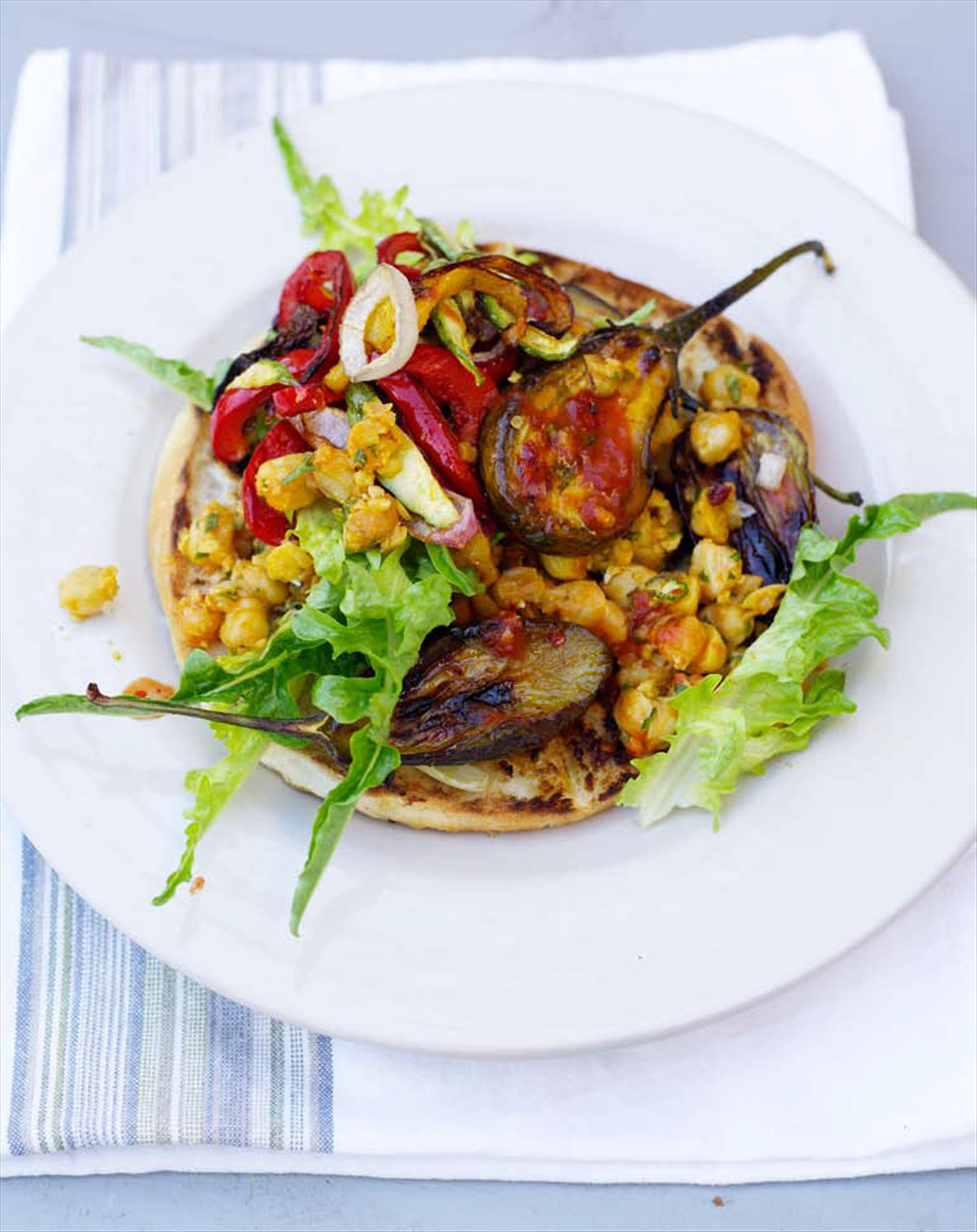 Spicy grilled vegetable rolls with chickpea salad