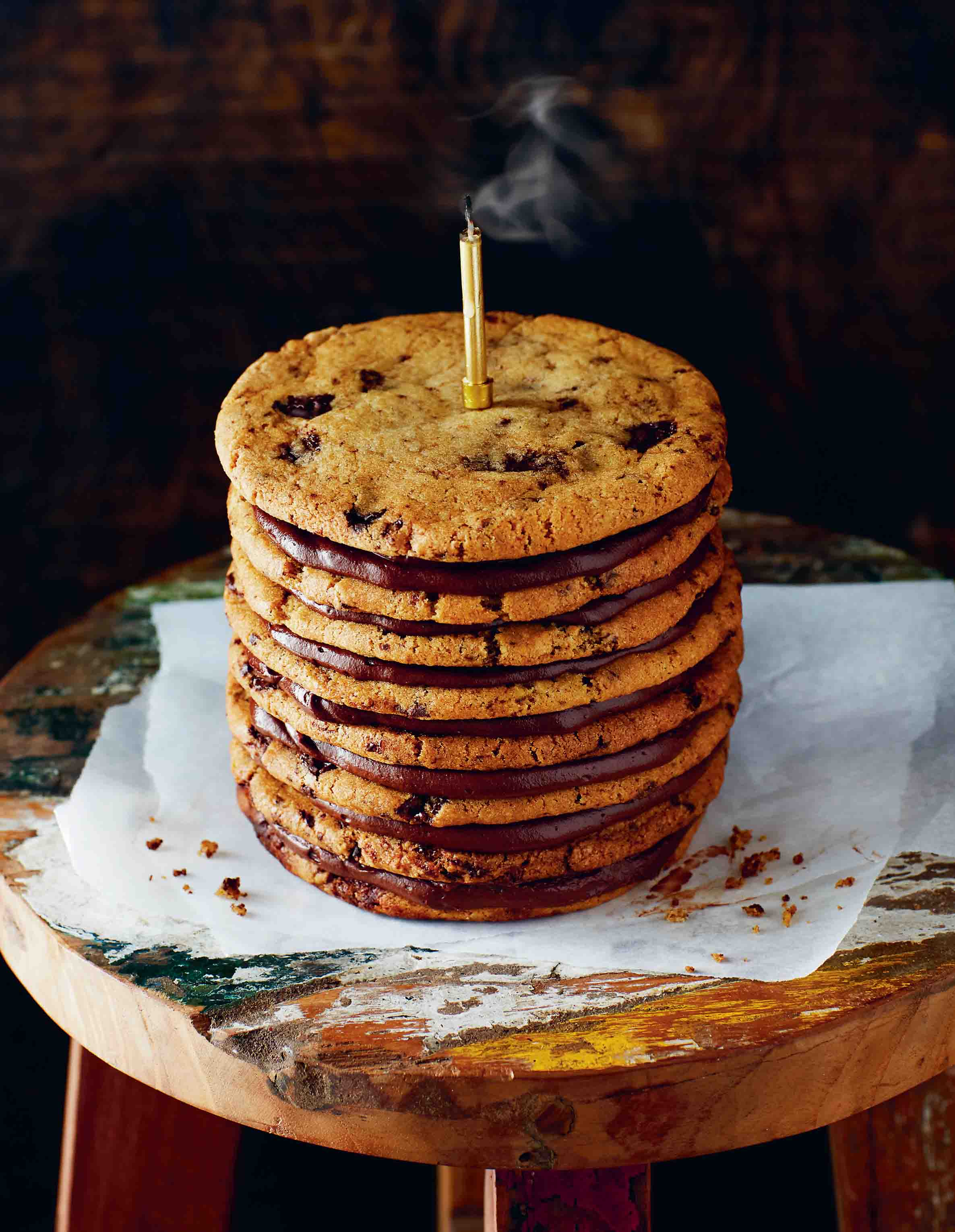 Chocolate-chip cookie layer cake