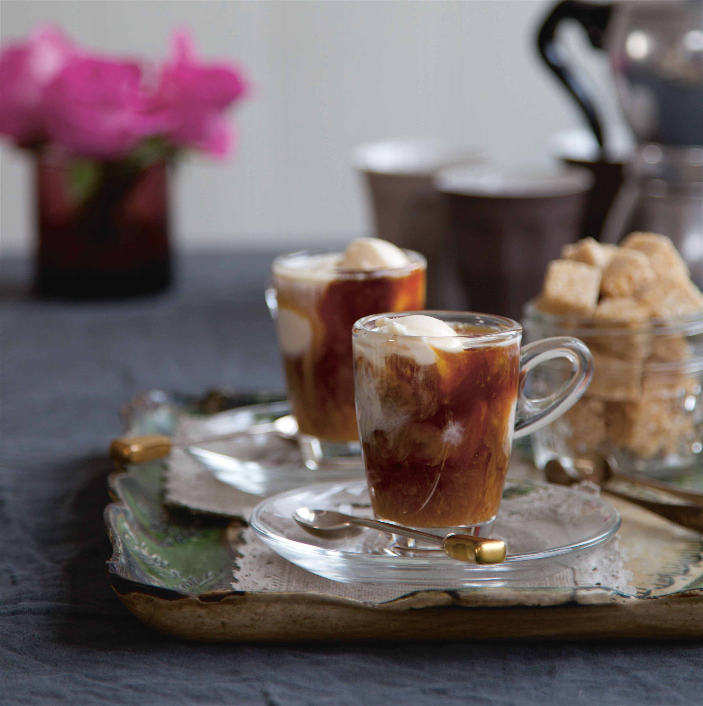Amaretto affogato shots