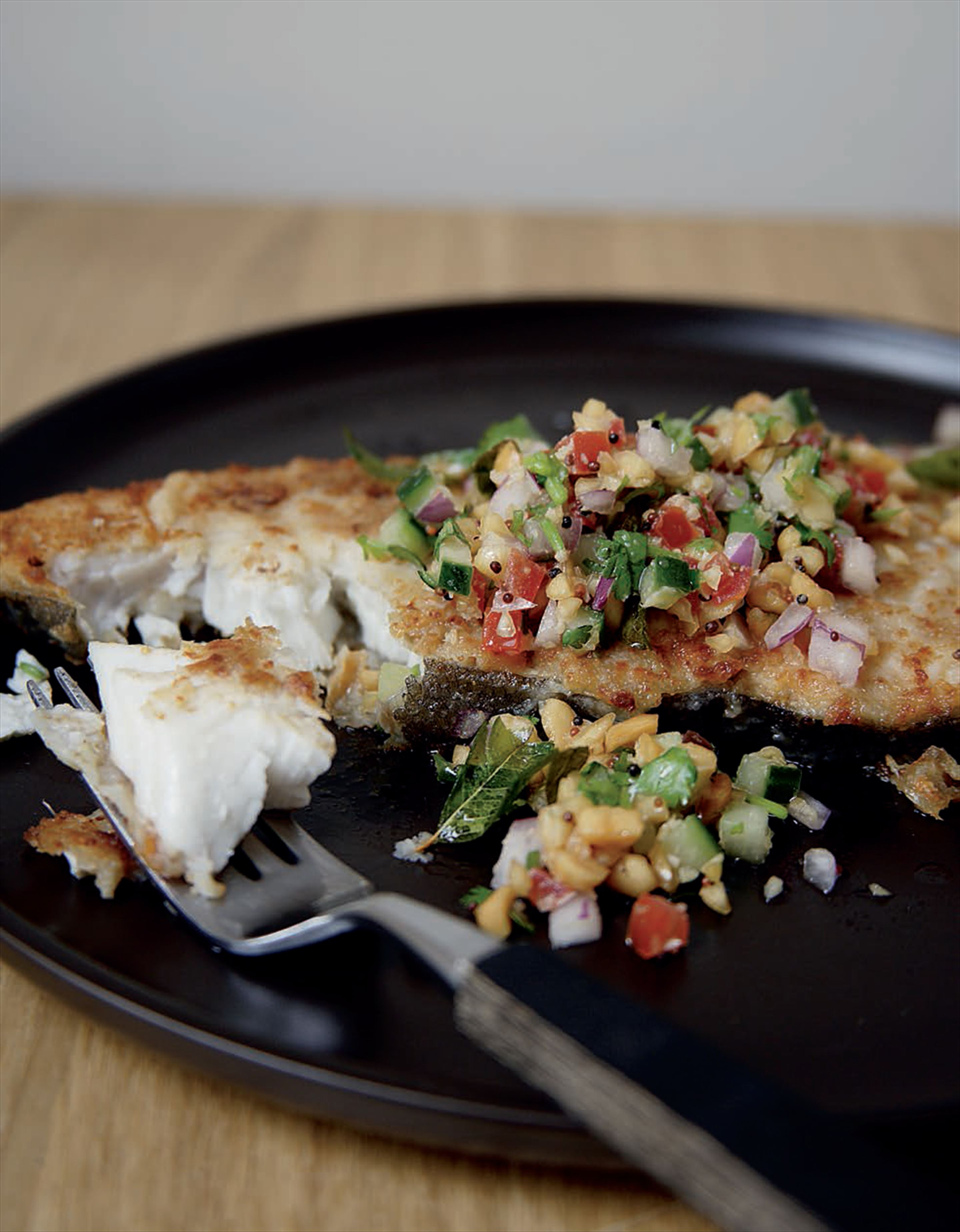 Coconut and chilli pan-fried halibut