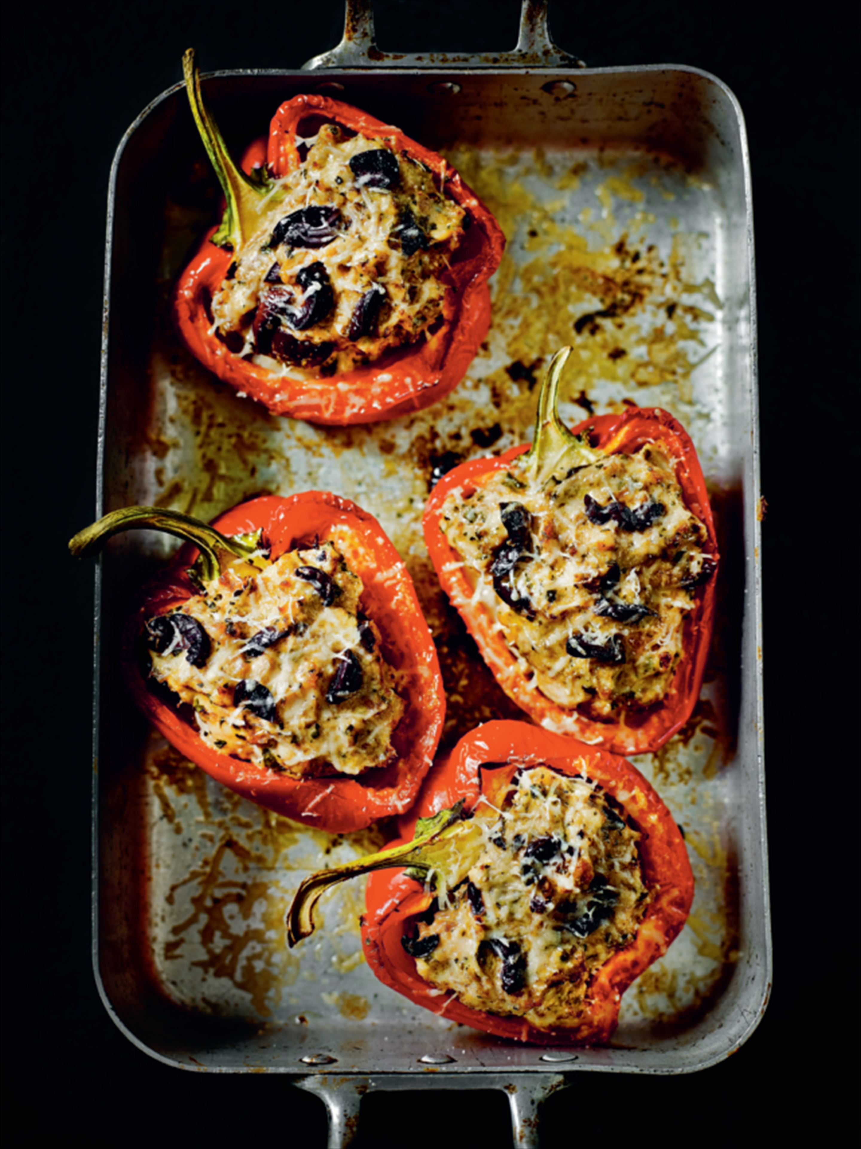 Turkey-stuffed red peppers